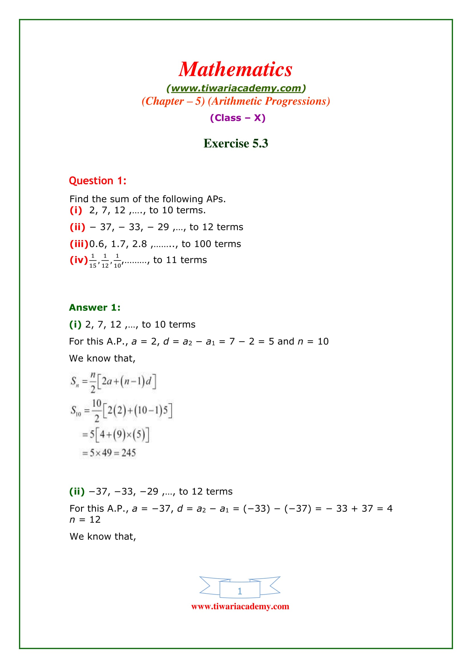 NCERT Solutions for Class 10 Maths Chapter 5 Exercise 5.3 AP in PDF