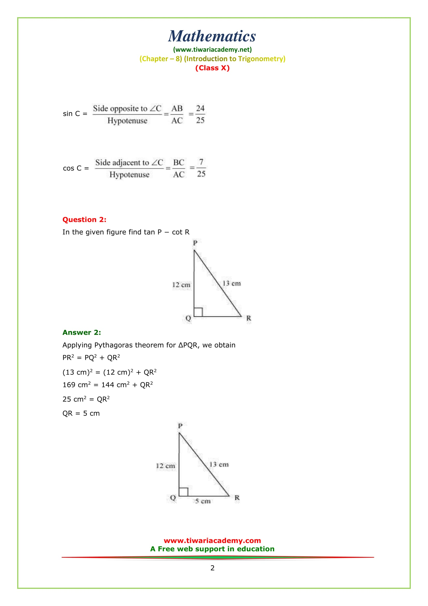 NCERT Solutions for Class 10 Maths Chapter 8 Exercise 8.1 Question 2