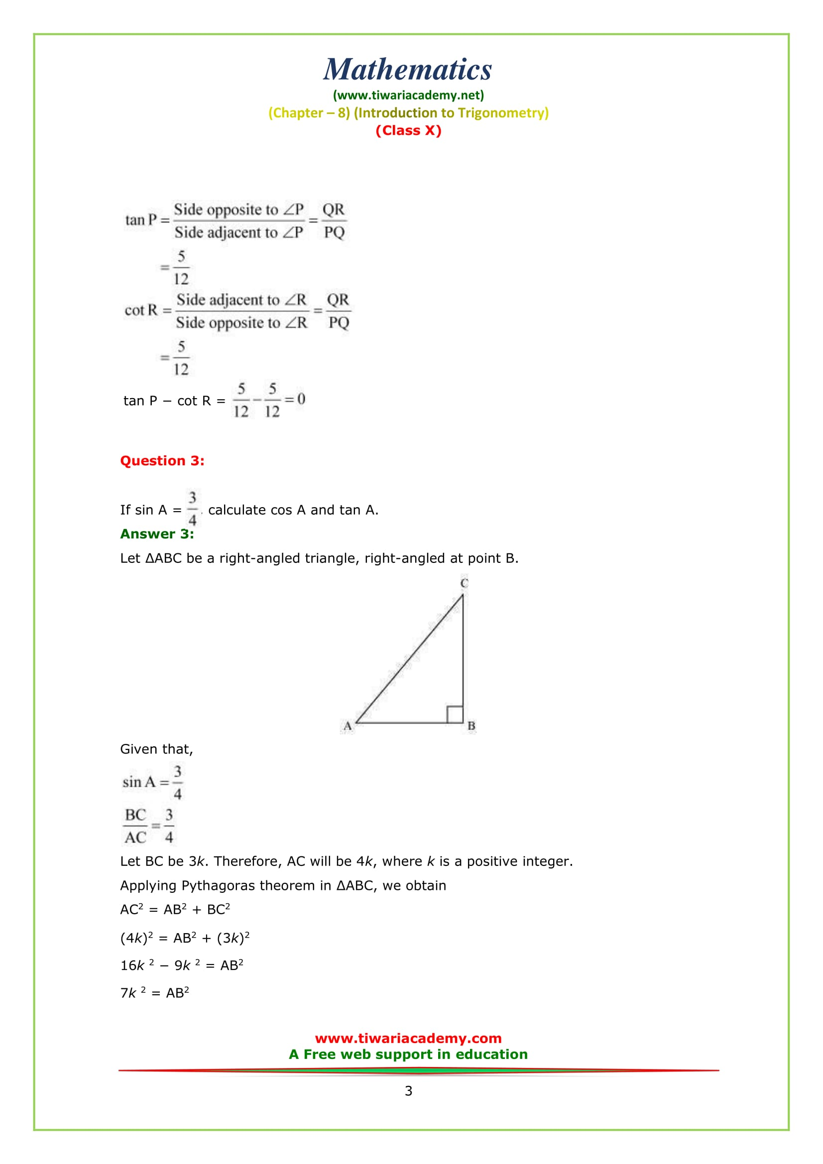 NCERT Solutions for Class 10 Maths Chapter 8 Exercise 8.1 Question 3
