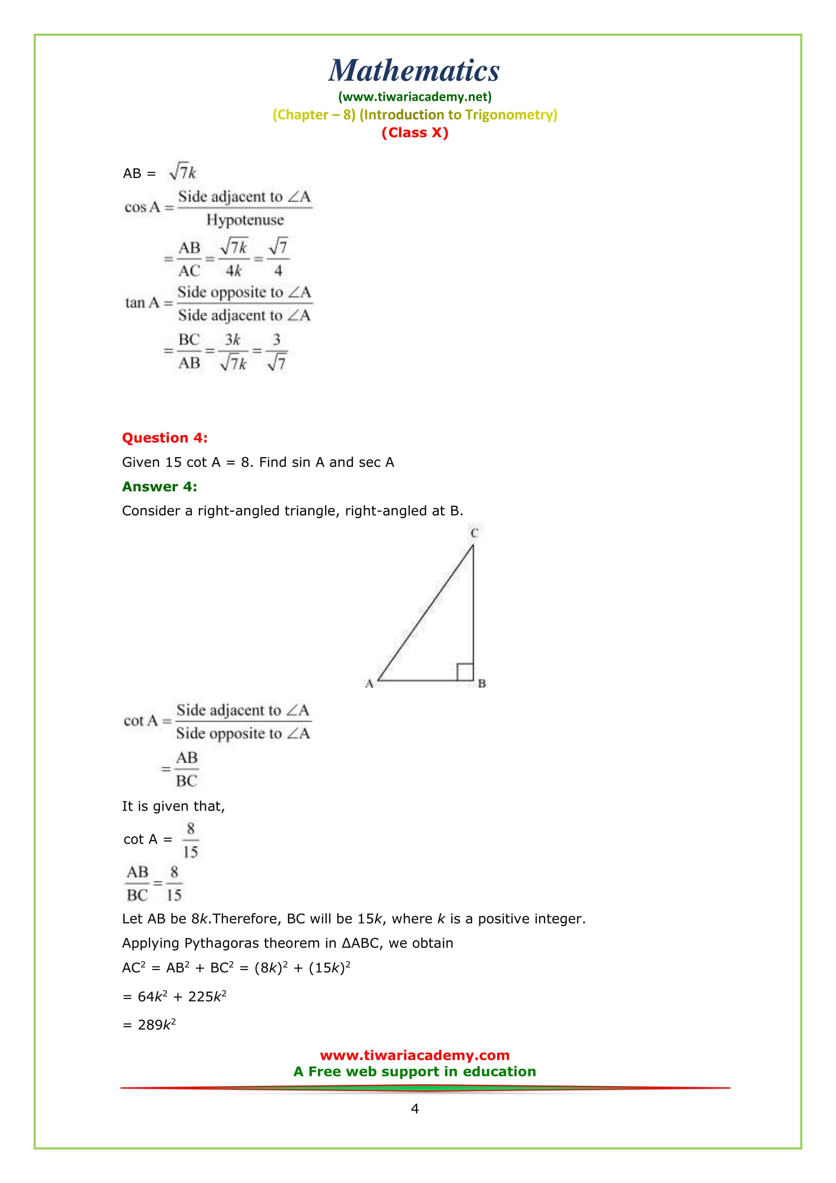 NCERT Solutions for Class 10 Maths Chapter 8 Exercise 8.1 Question 4