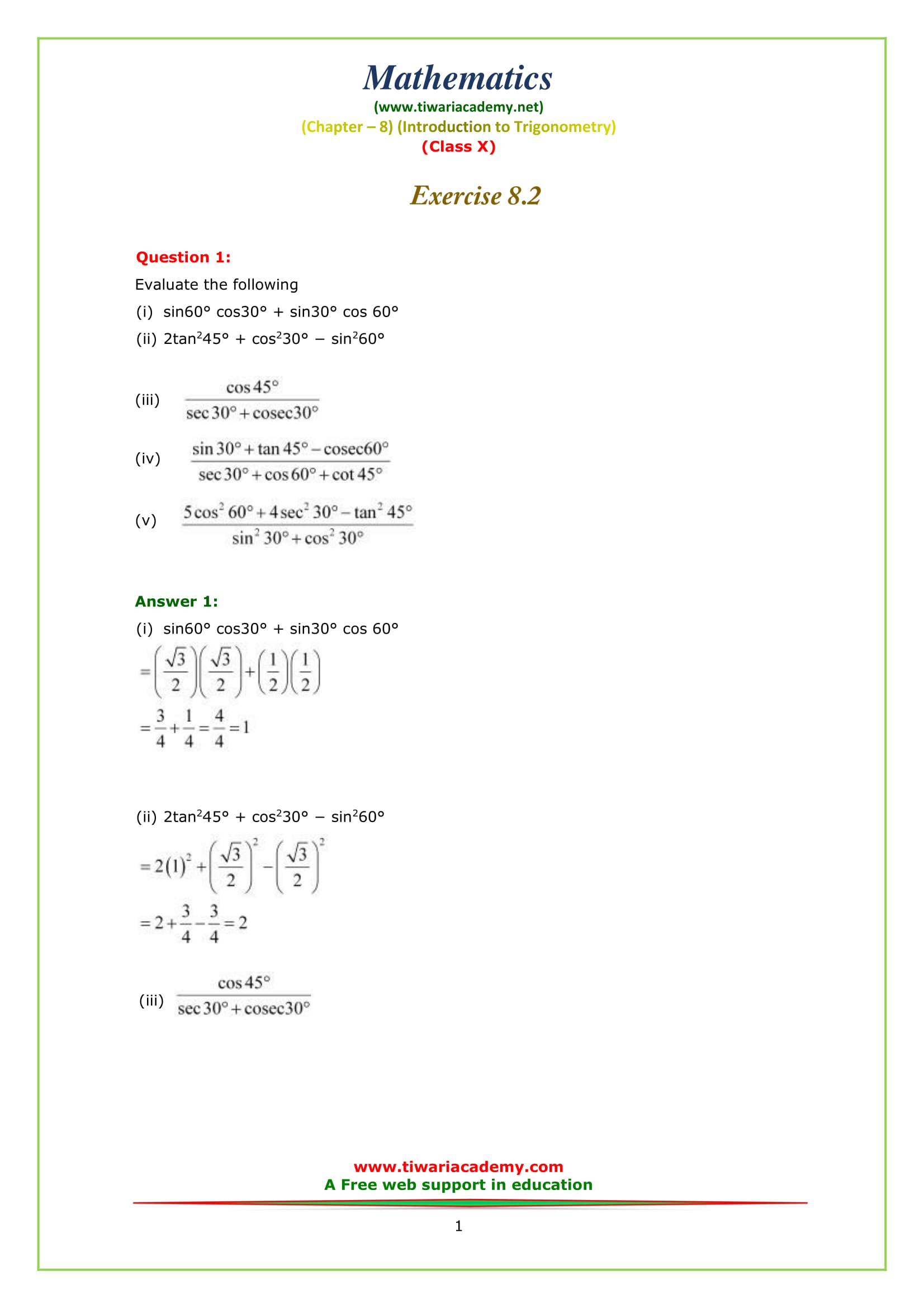 Premise Indicator Words: Free NCERT Solutions For Class 10 Maths Chapter 8 Exercise