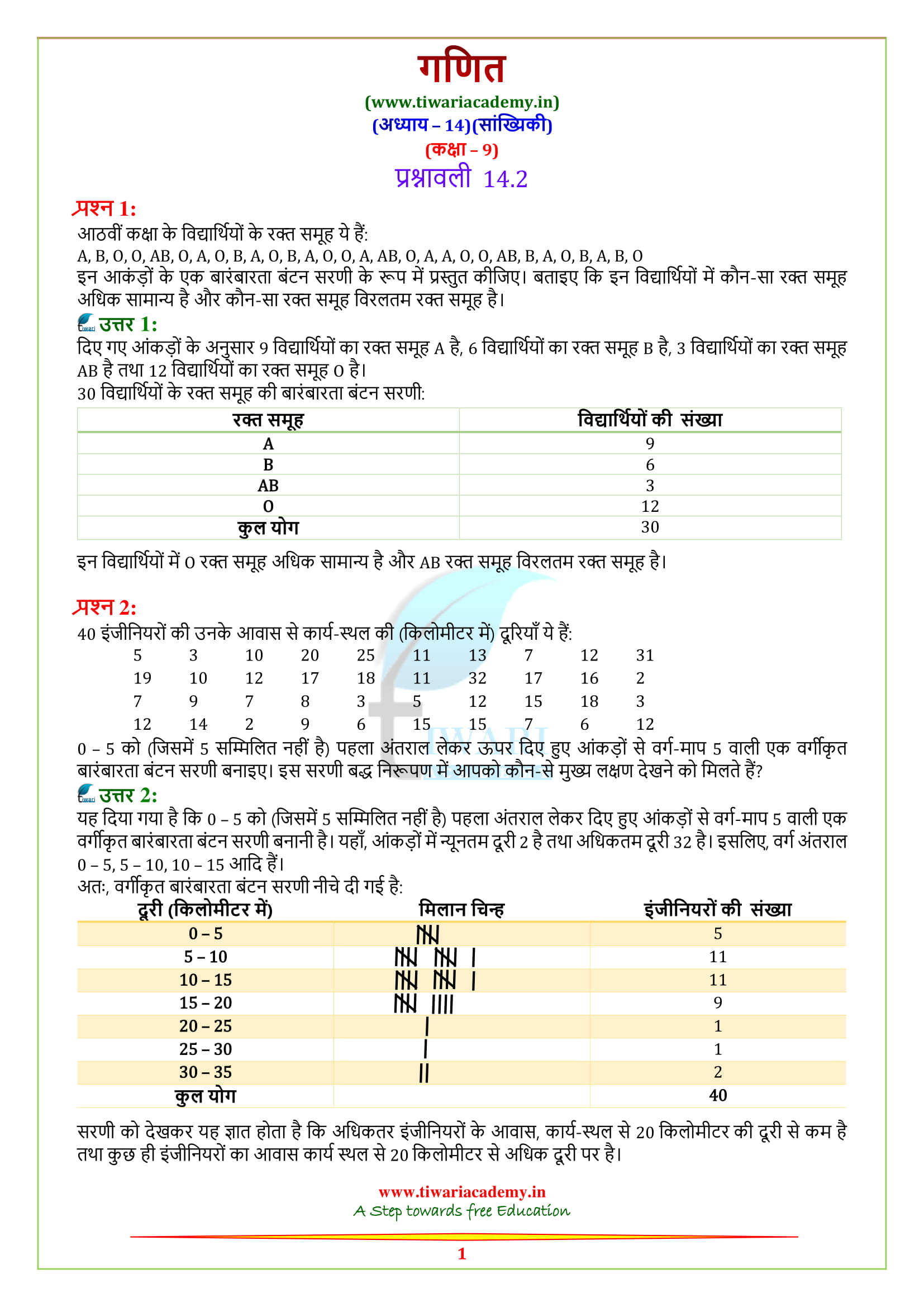NCERT Solutions for Class 9 Maths Chapter 14 Exercise 14 1