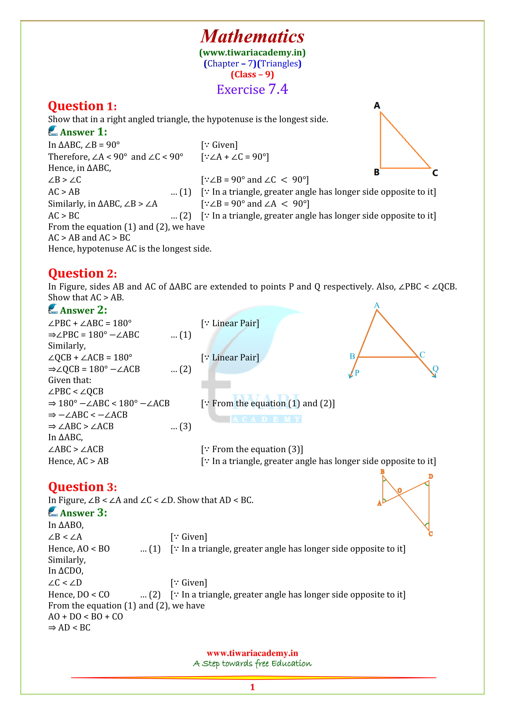 NCERT Solutions for class 9 maths chapter 7 Exercise 7.4 in english medium