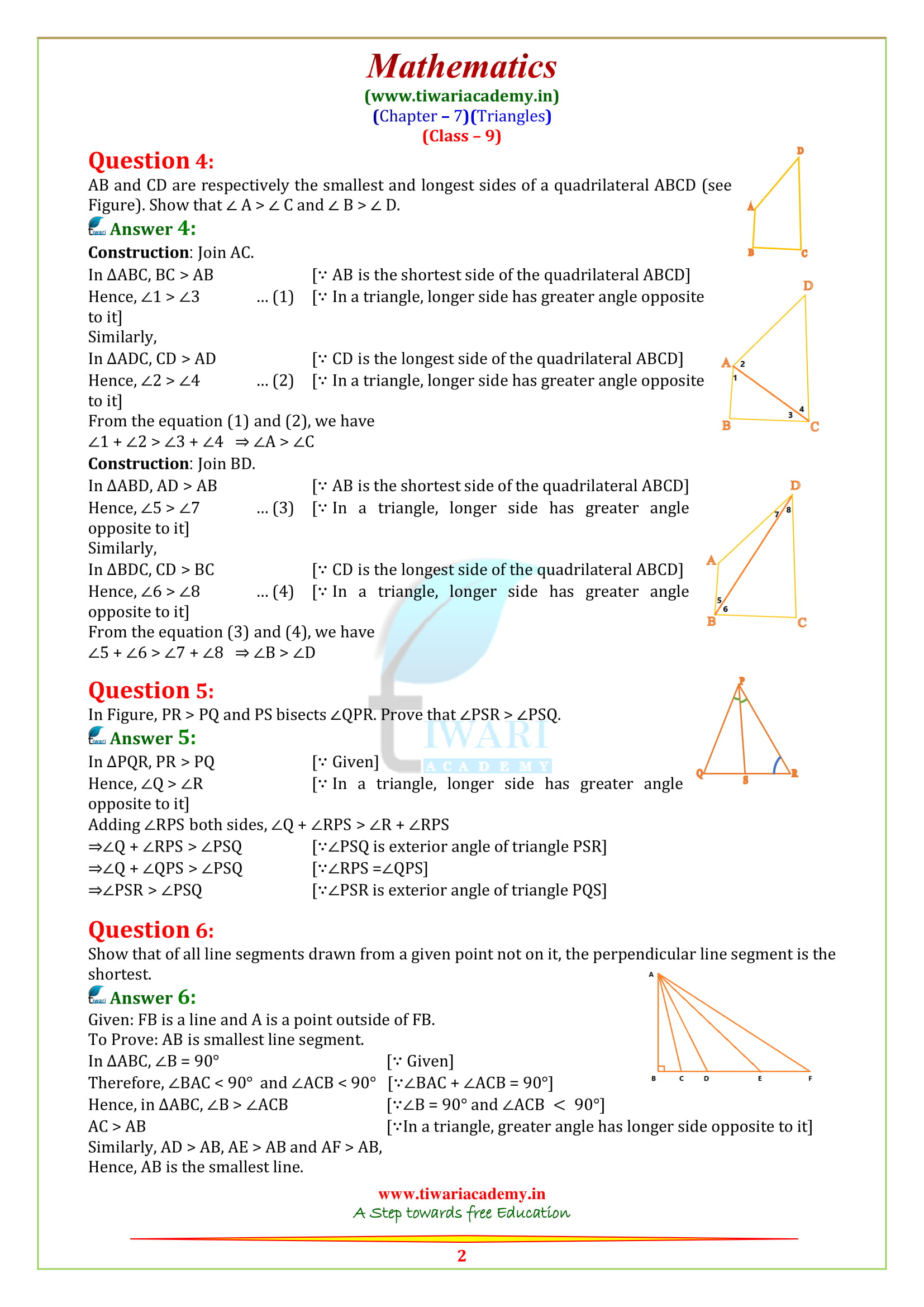 NCERT Solutions for class 9 maths chapter 7 ex. 7.4 updated for 2018-19