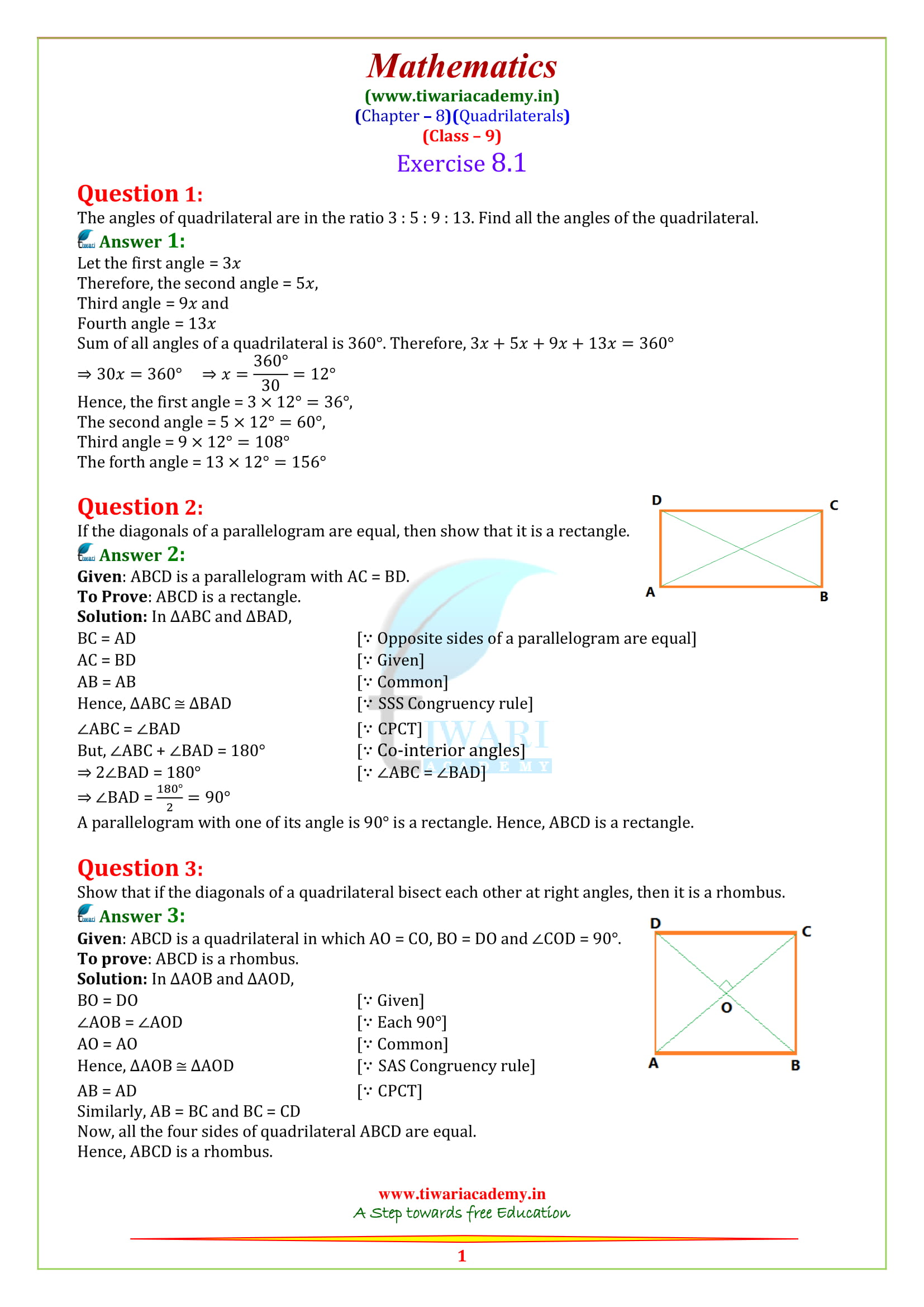 NCERT Solutions for class 9 Maths Exercise 8.1 in english medium