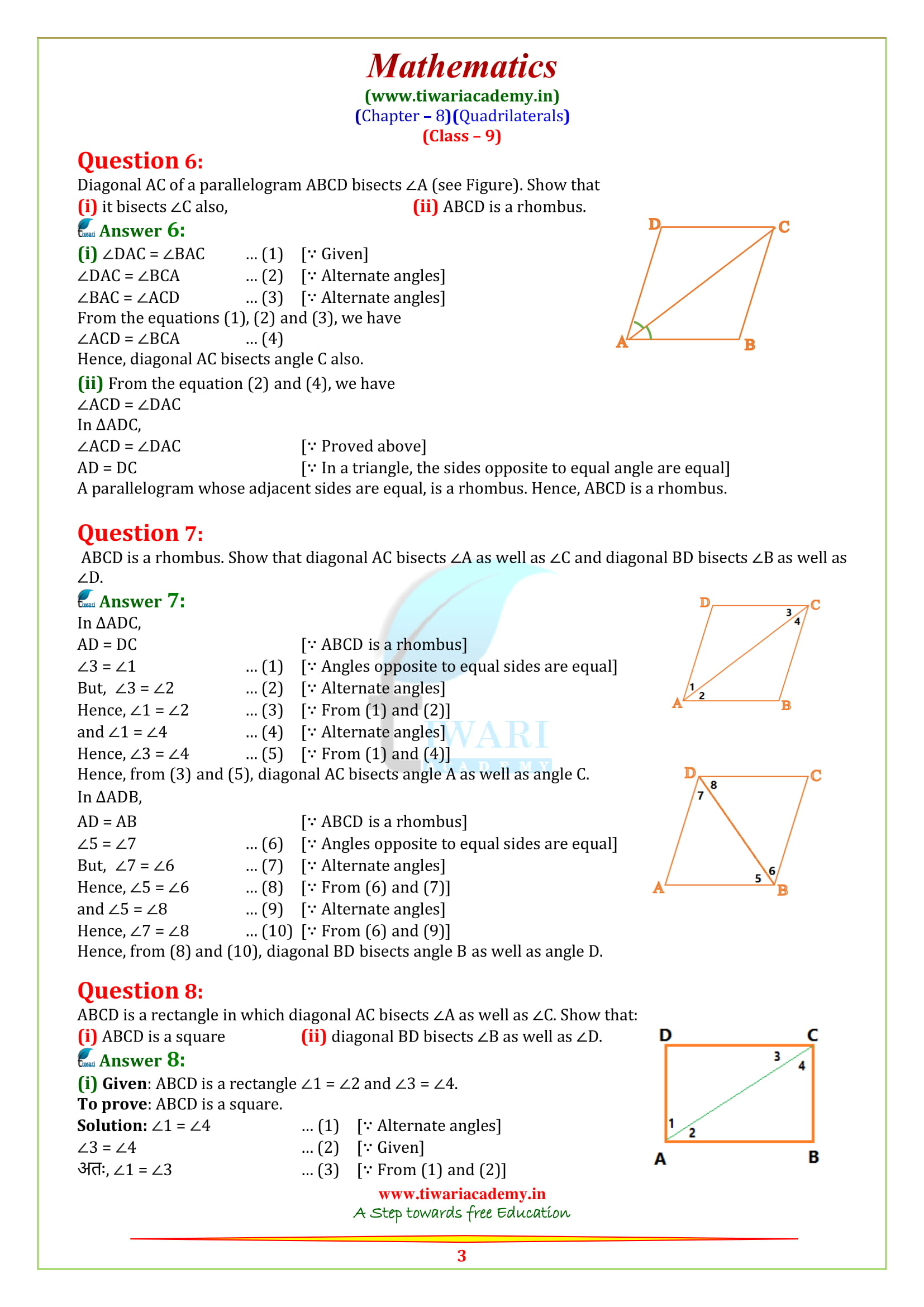 NCERT Solutions for class 9 Maths Exercise 8.1 on new syllabus 2019
