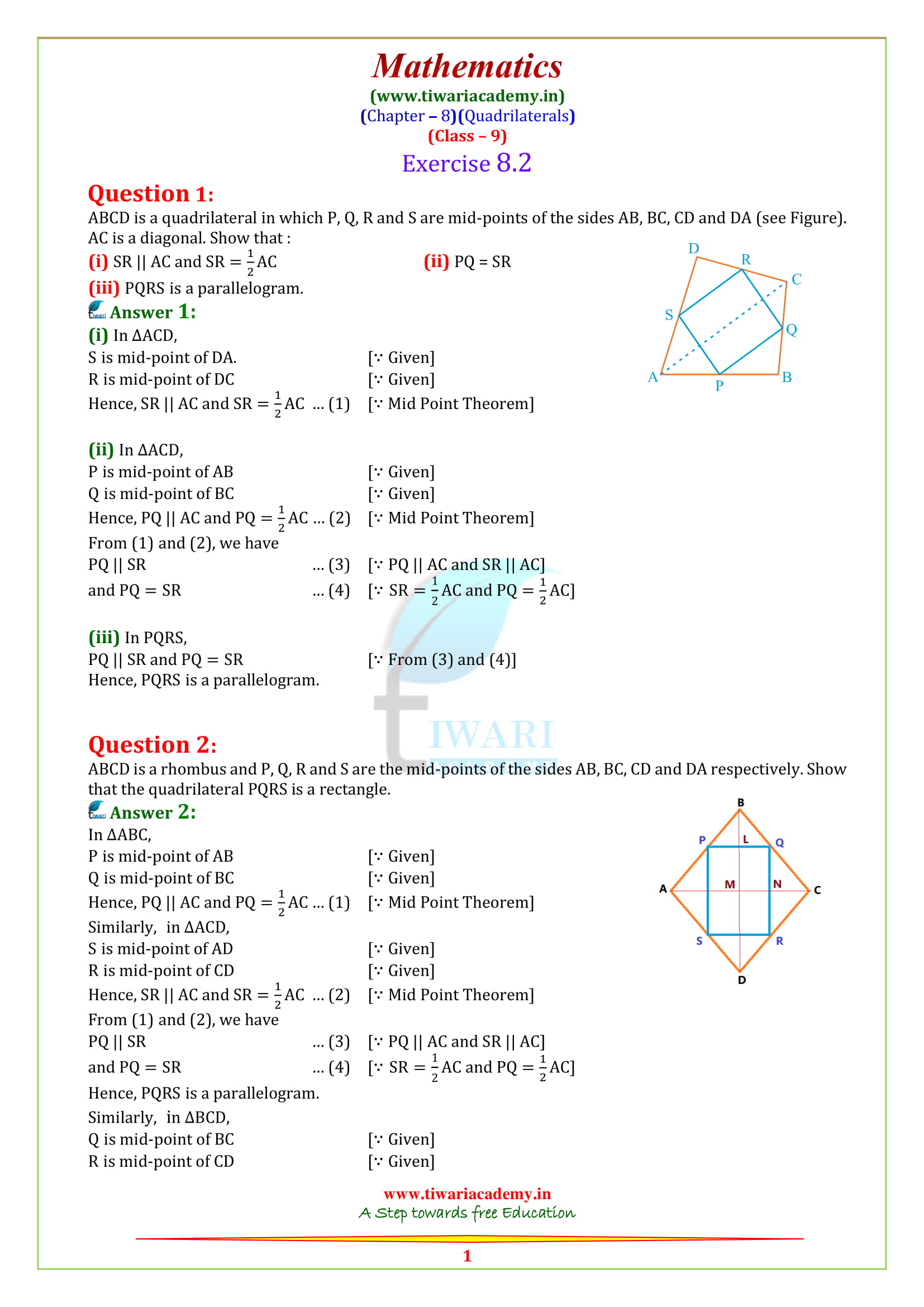 9 Maths exercise 8.2 sols in english medium