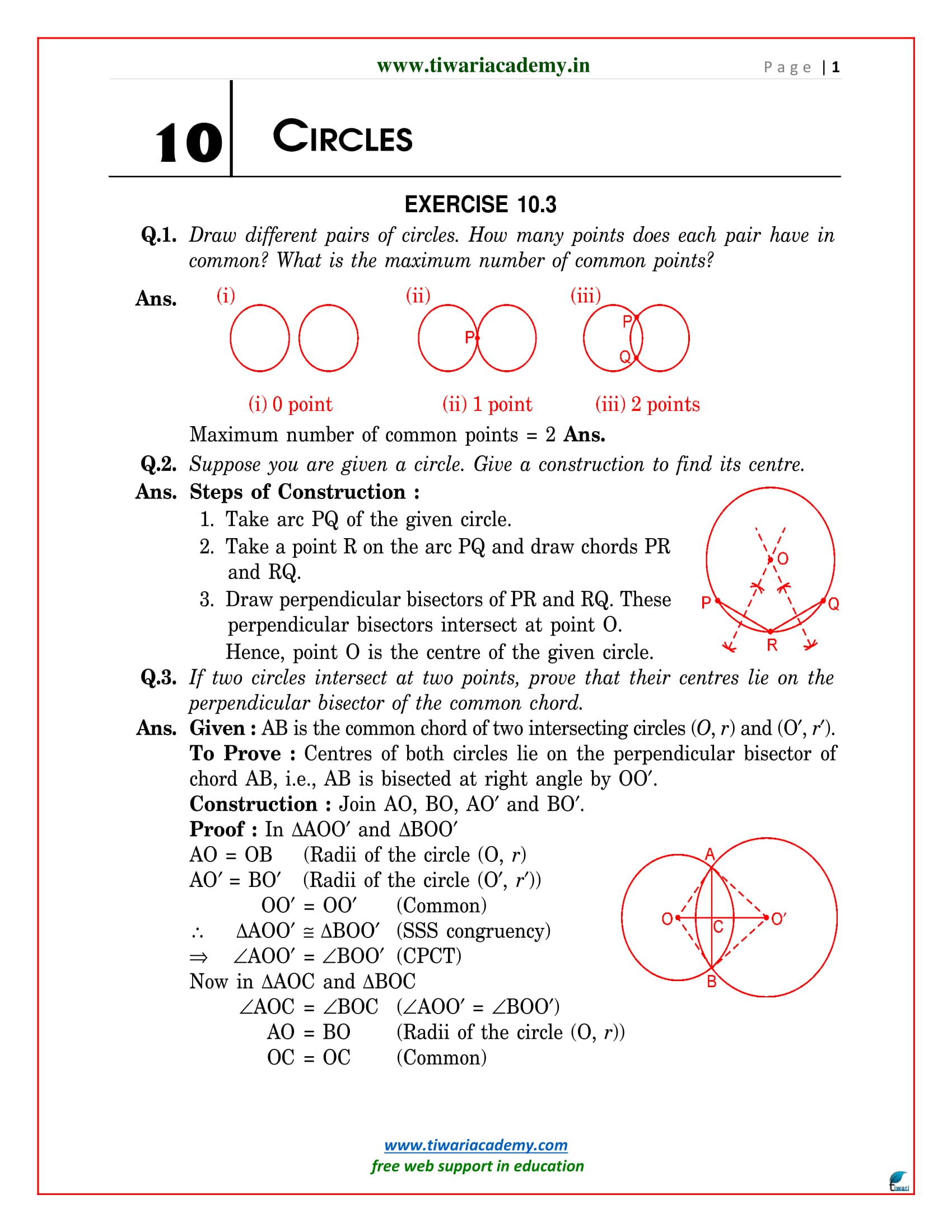 NCERT Solutions for Class 9 Maths Chapter 10 Exercise 10.3