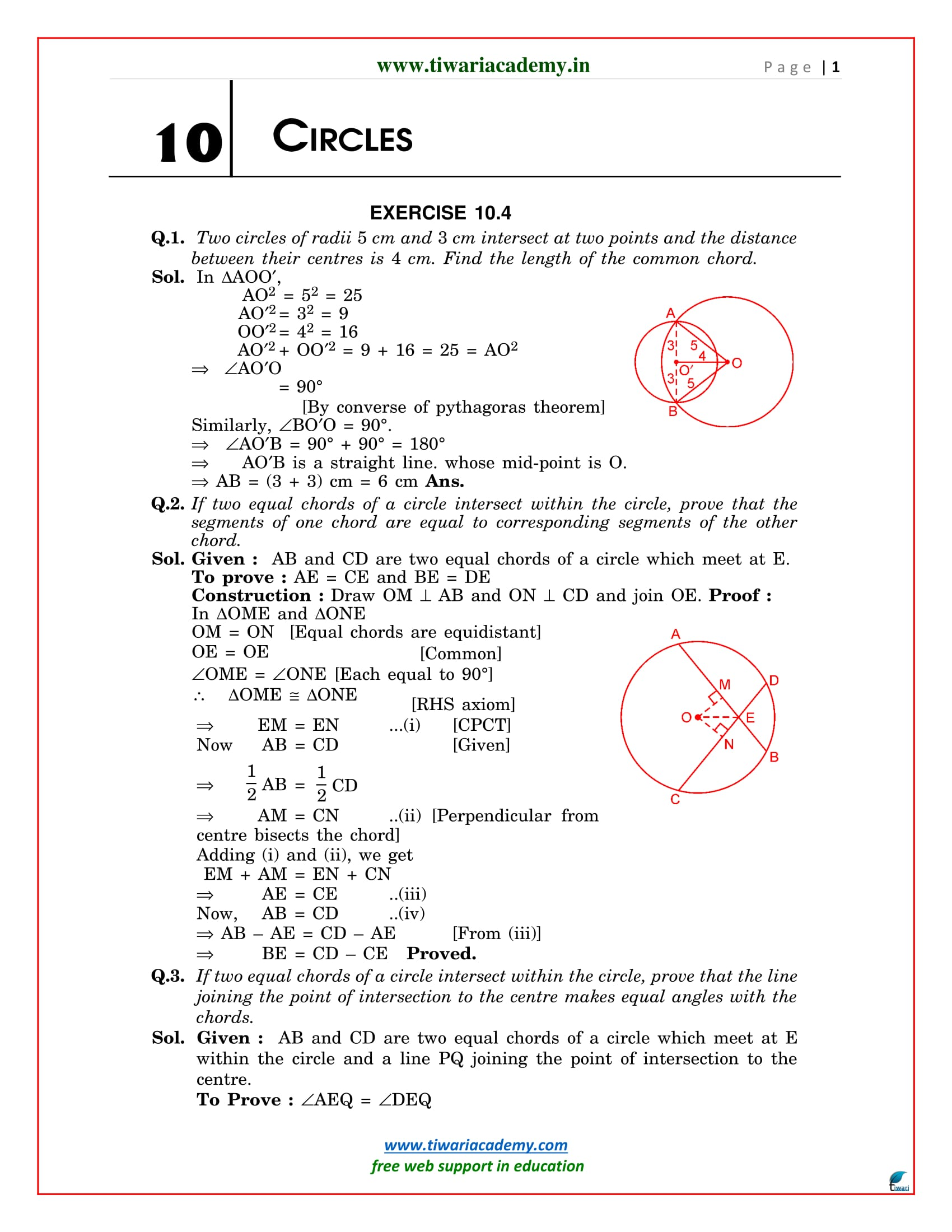 NCERT Solutions for Class 9 Maths Chapter 10 Exercise 10.4