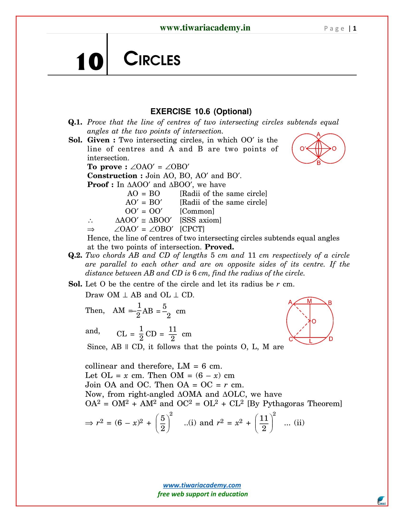 NCERT Solutions for Class 9 Maths Chapter 10 Exercise 10.6