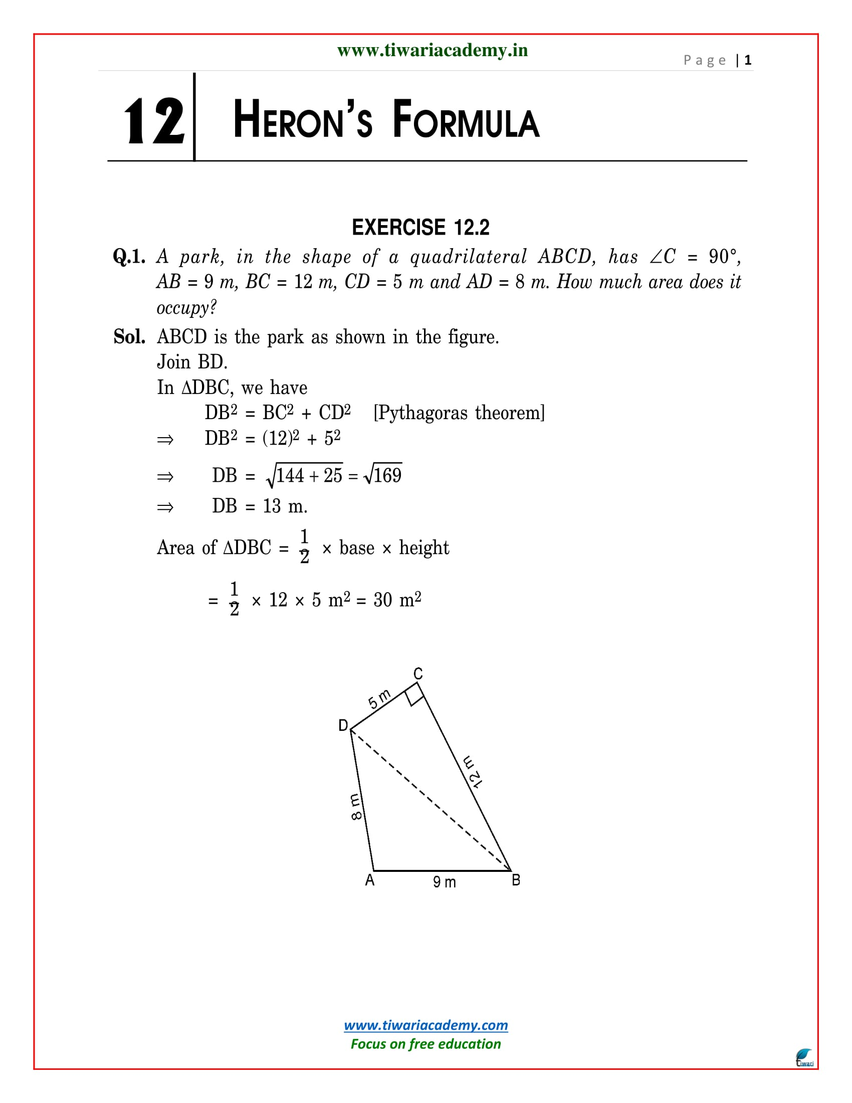 NCERT Solutions for Class 9 Maths Chapter 12 Heron Formula 12 1, 12 2