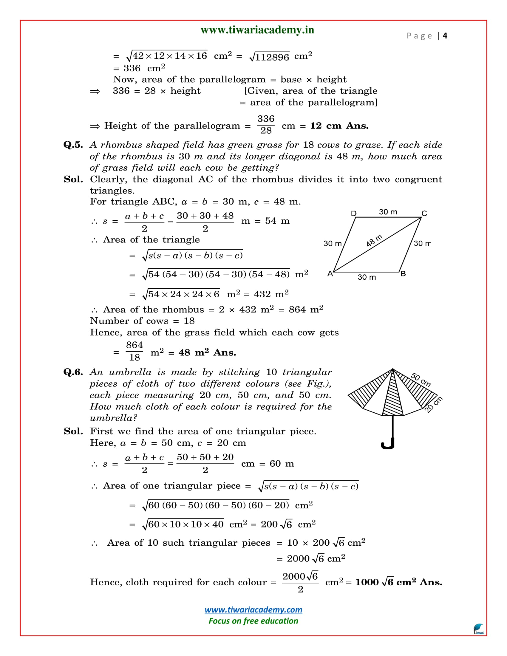 NCERT solutions 9 maths exercise 12.2