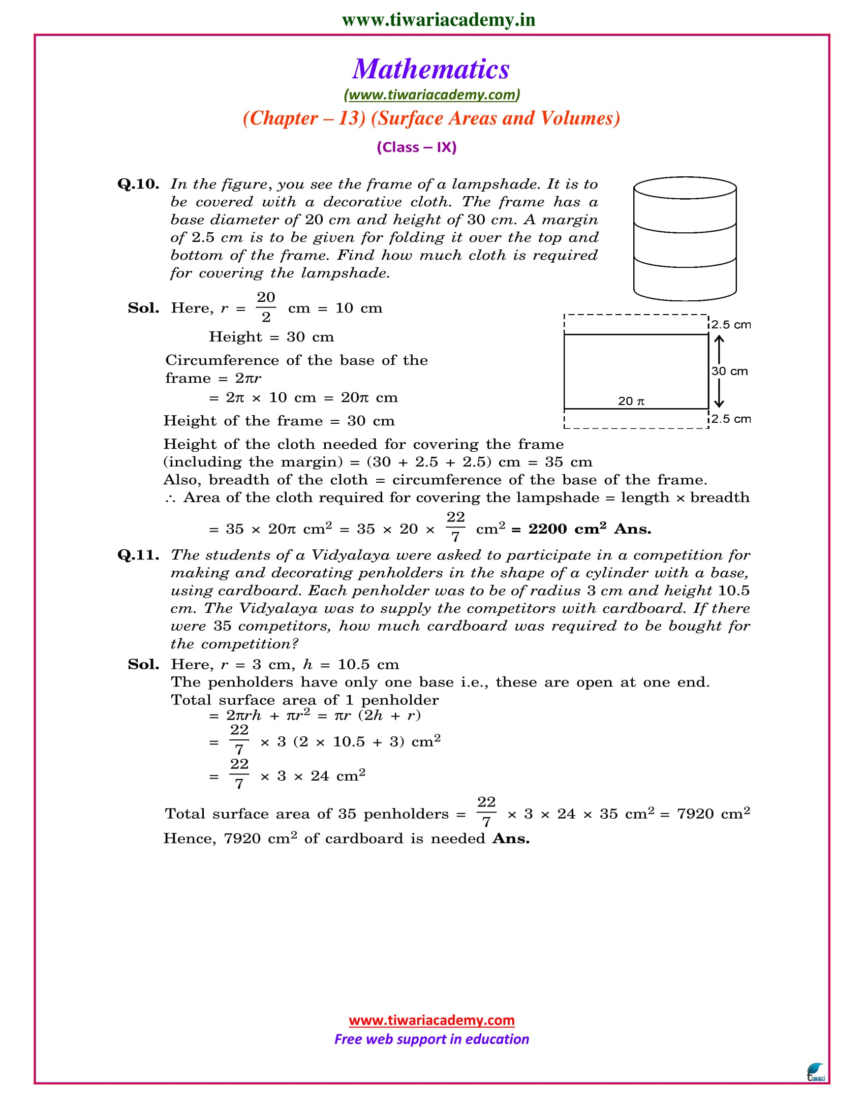 Class 9 Maths Chapter 13 Exercise 13.2 sols