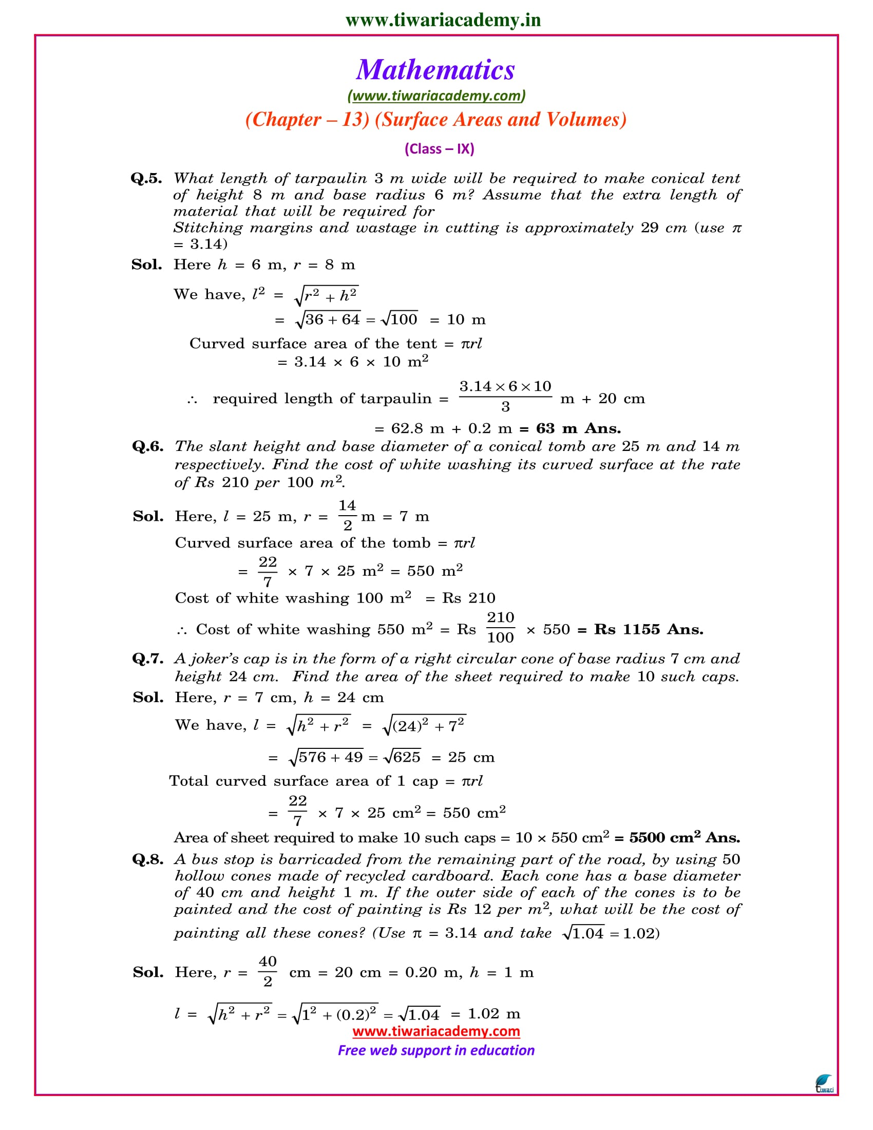 class 9 maths exercise 13.3 solutions