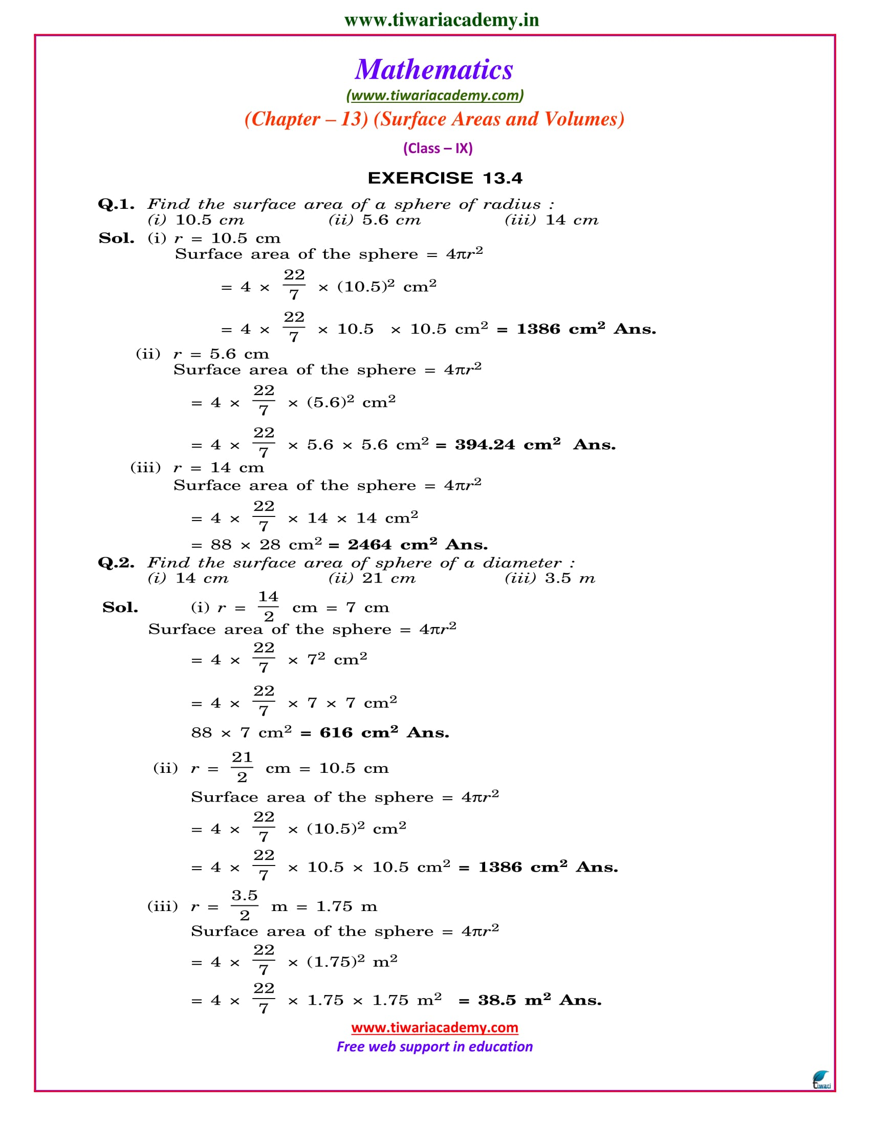 NCERT Solutions for Class 9 Maths Chapter 13 Exercise 13.4