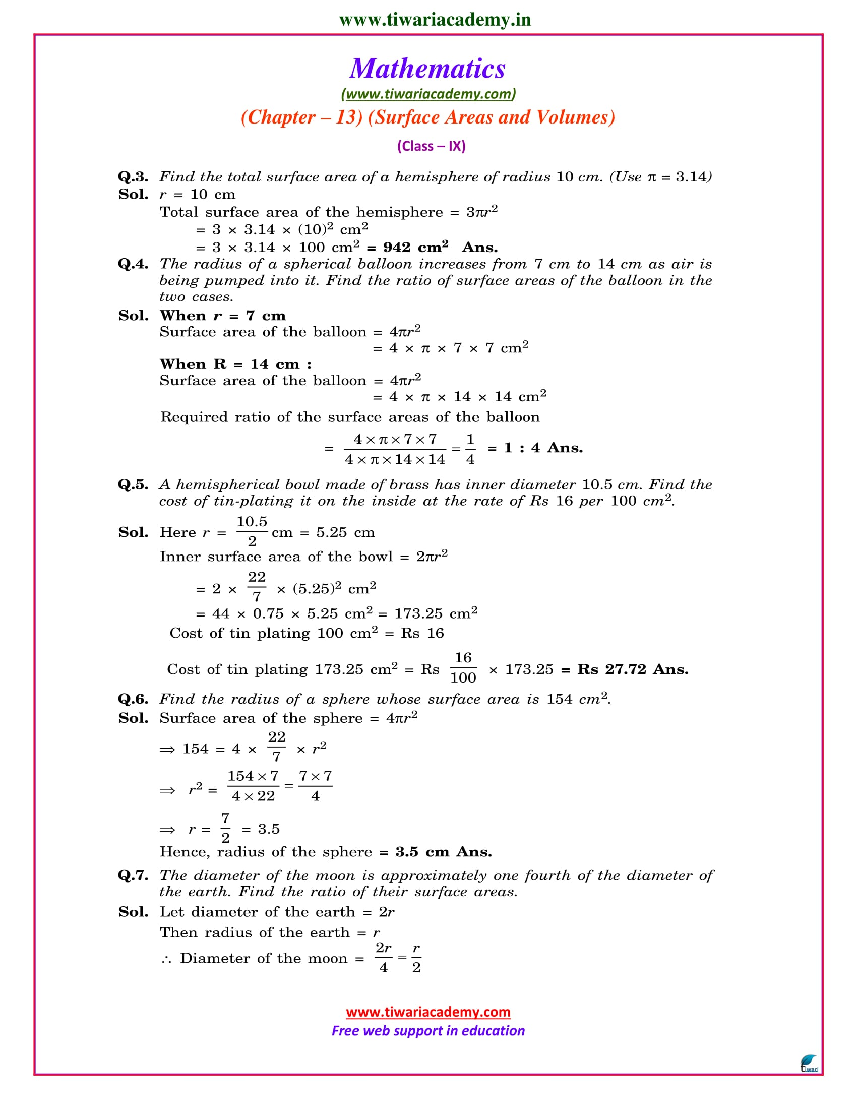 class 9 maths exercise 13.4 solutions