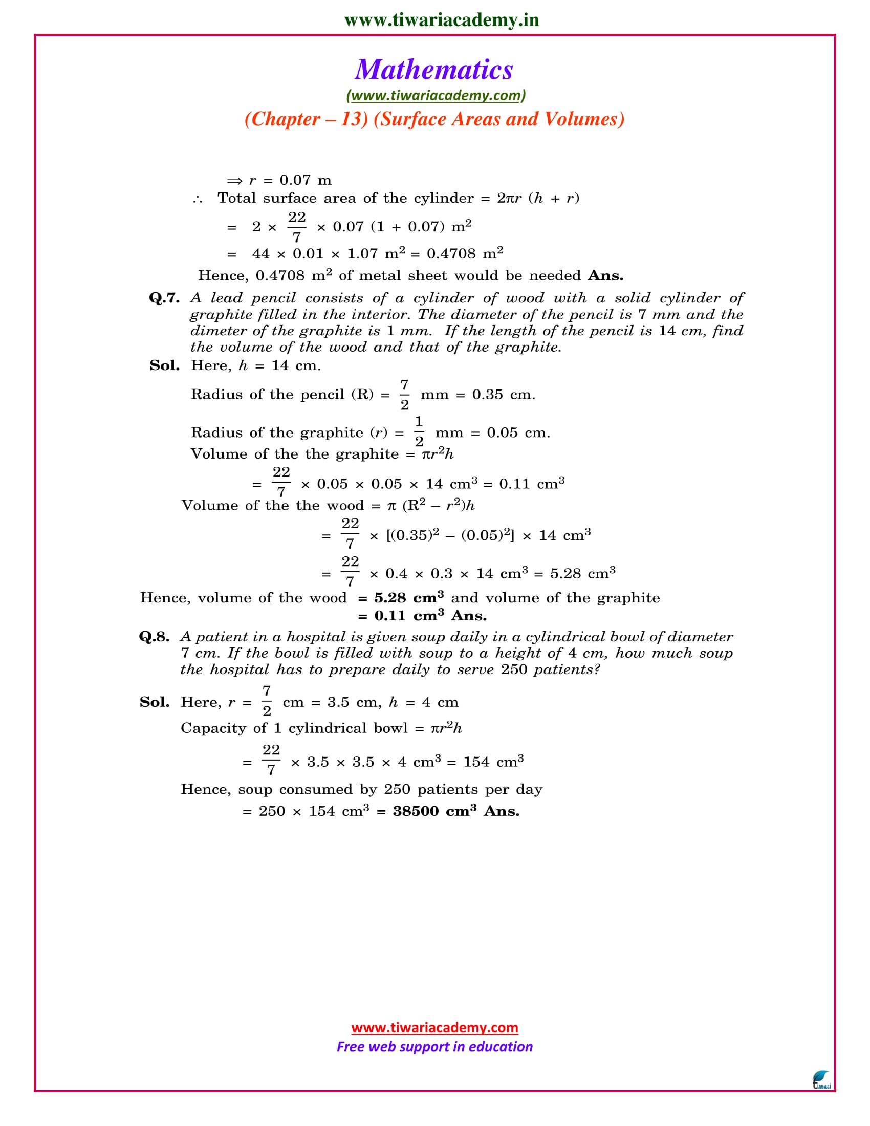 class 9 maths chapter 13 exercise 13.6 ncert sols