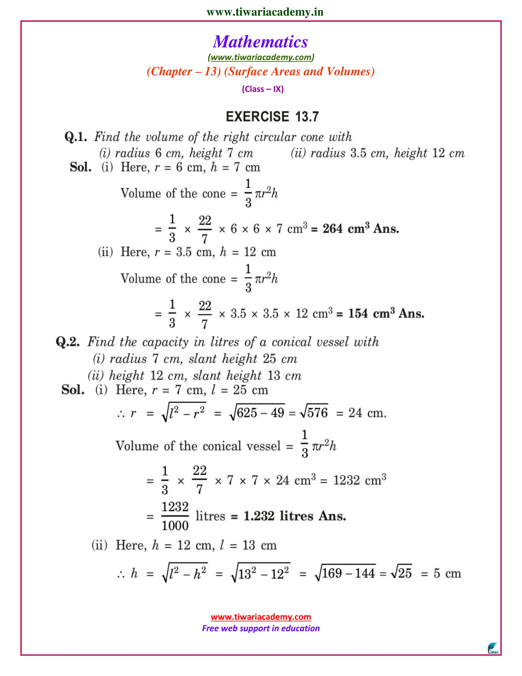 NCERT Solutions for Class 9 Maths Chapter 13 Exercise 13.7