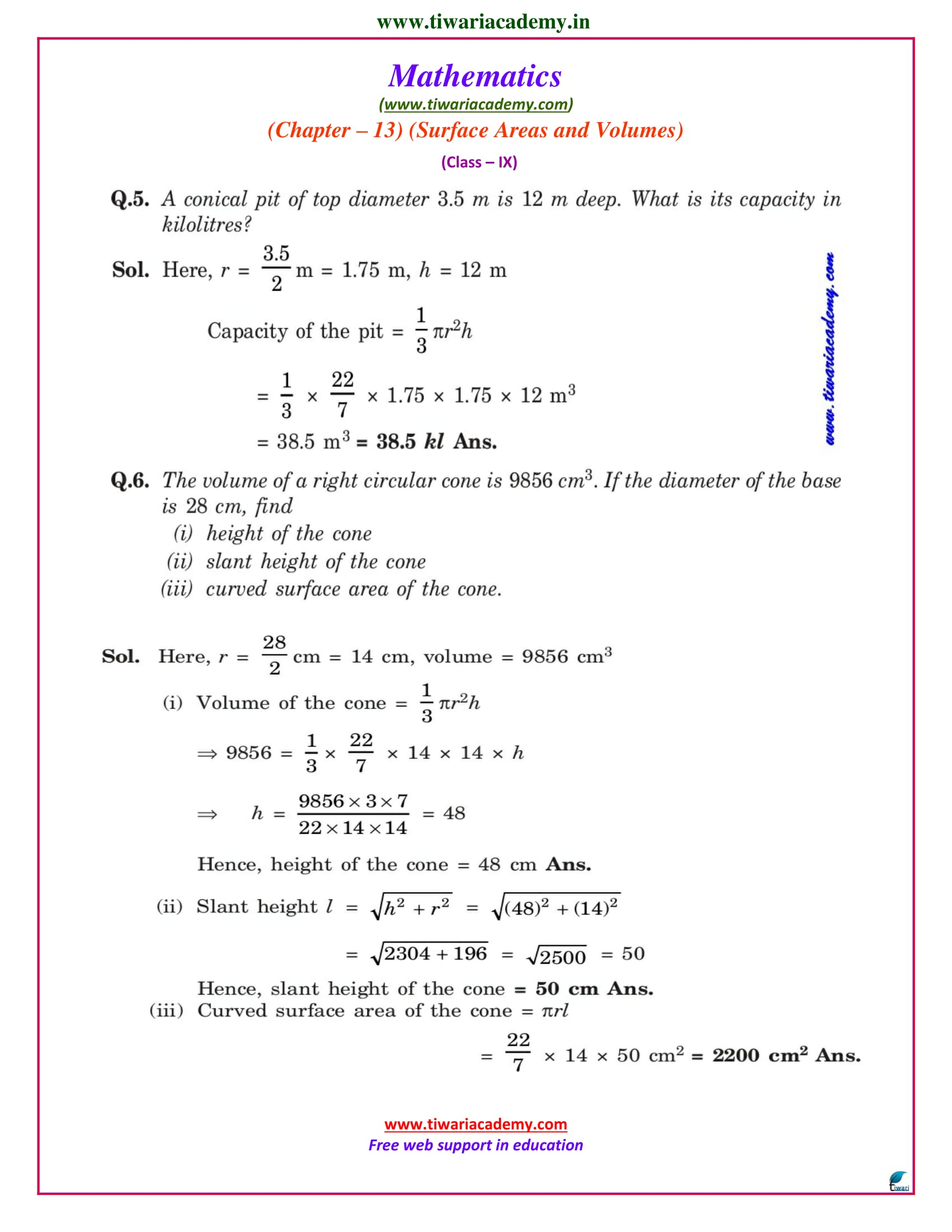 9 maths chapter 13.7 solutions