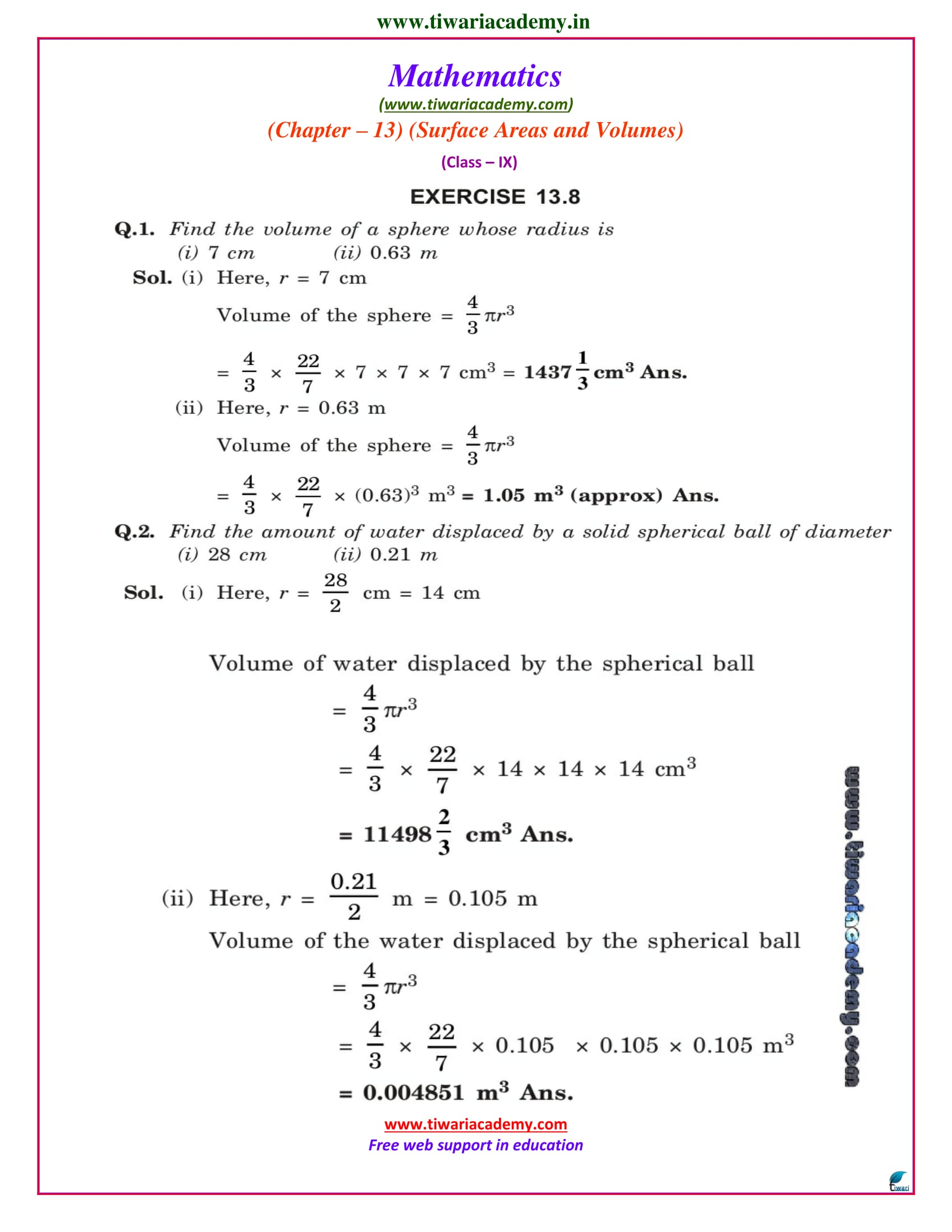 NCERT Solutions for Class 9 Maths Chapter 13 Exercise 13.8