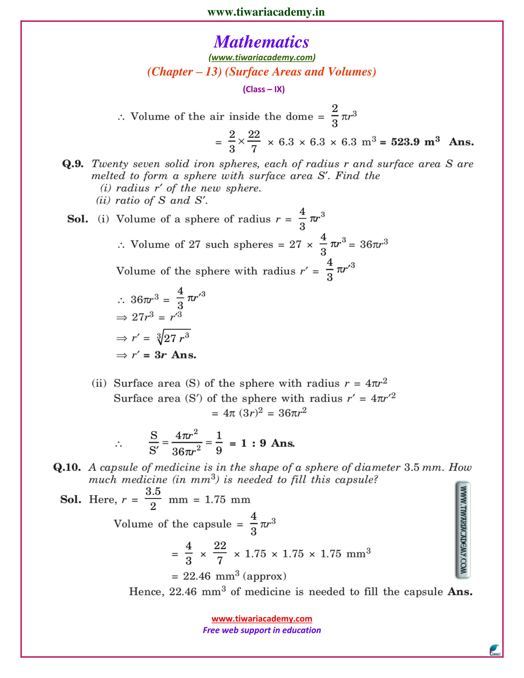 9 maths solution ex 13.8 ncert
