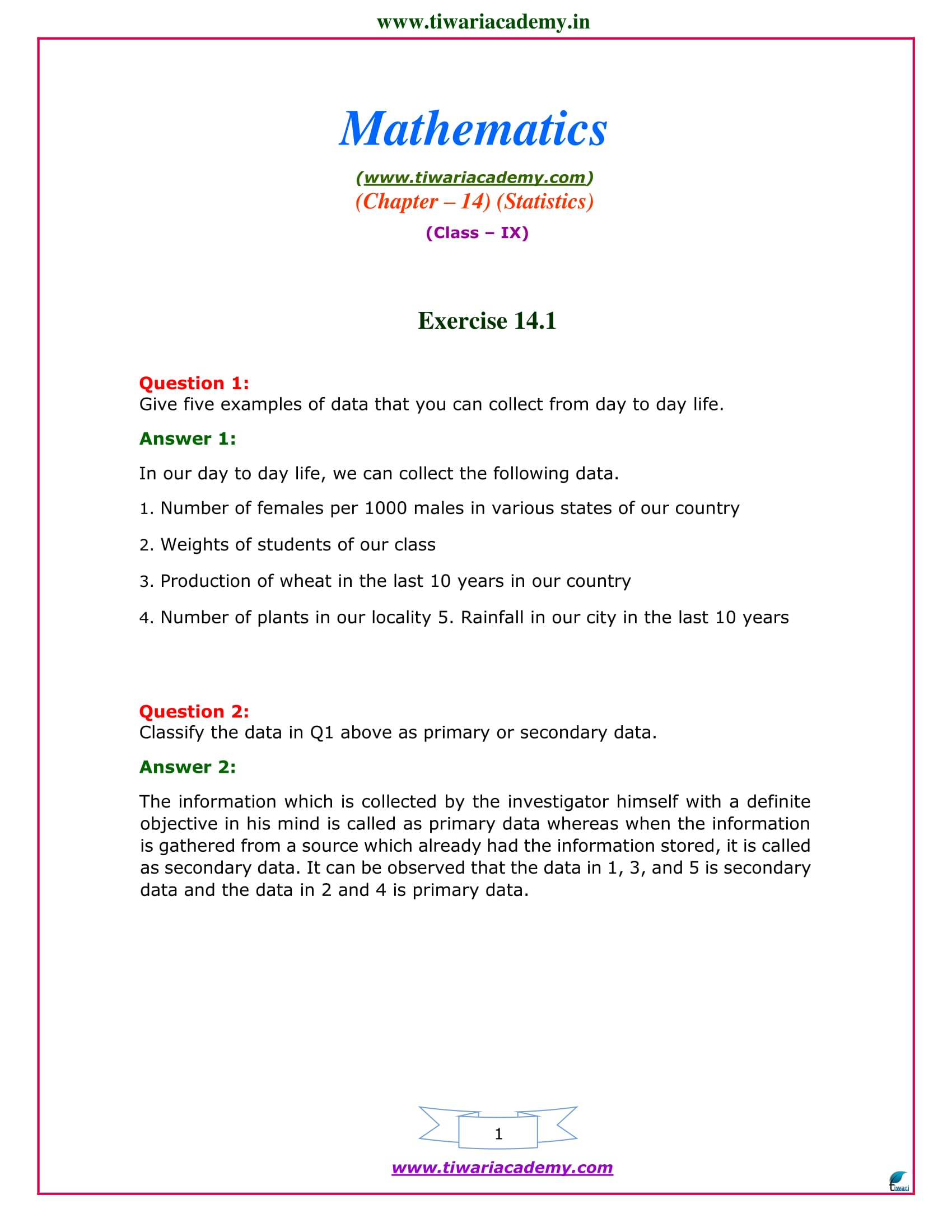 NCERT Solutions for Class 9 Maths Chapter 14 Exercise 14.1