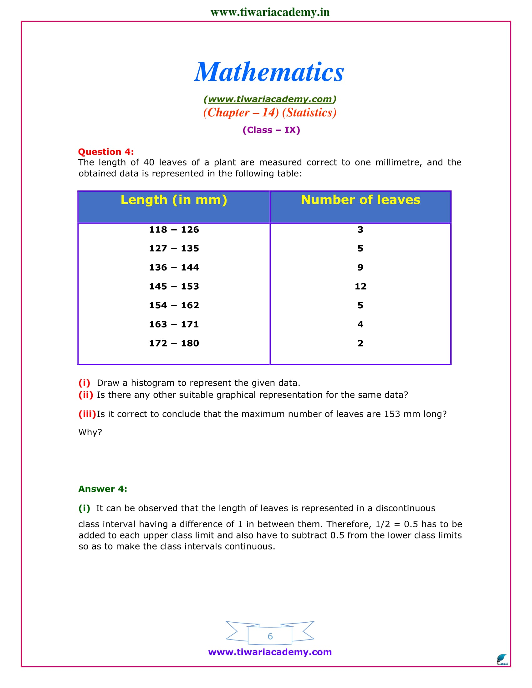 class 9 maths exercise 14.3 question answers