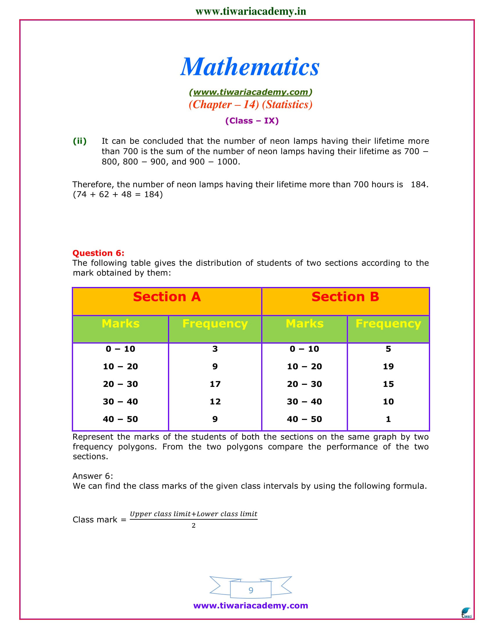 class 9 maths exercise 14.3 sols