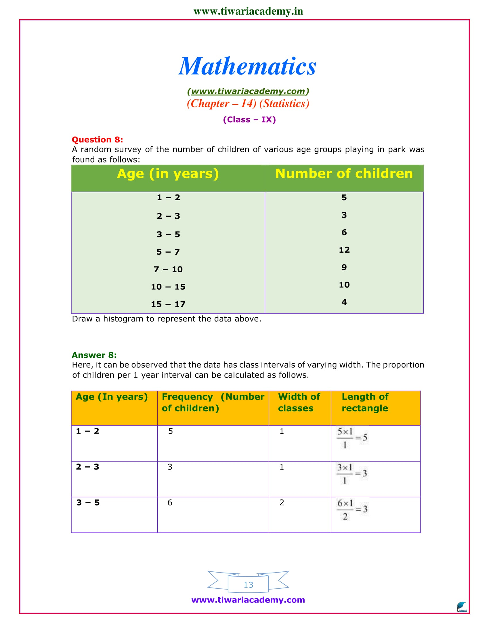 9 maths chapter 14 exercise 14.3 ncert solutions
