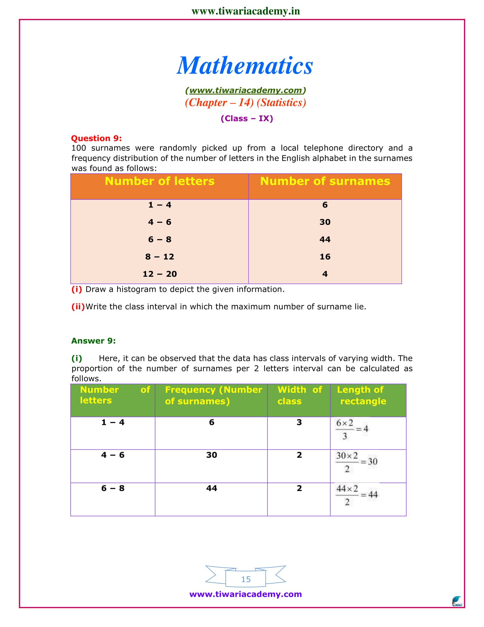 9 maths chapter 14 exercise 14.3 ncert book solutions