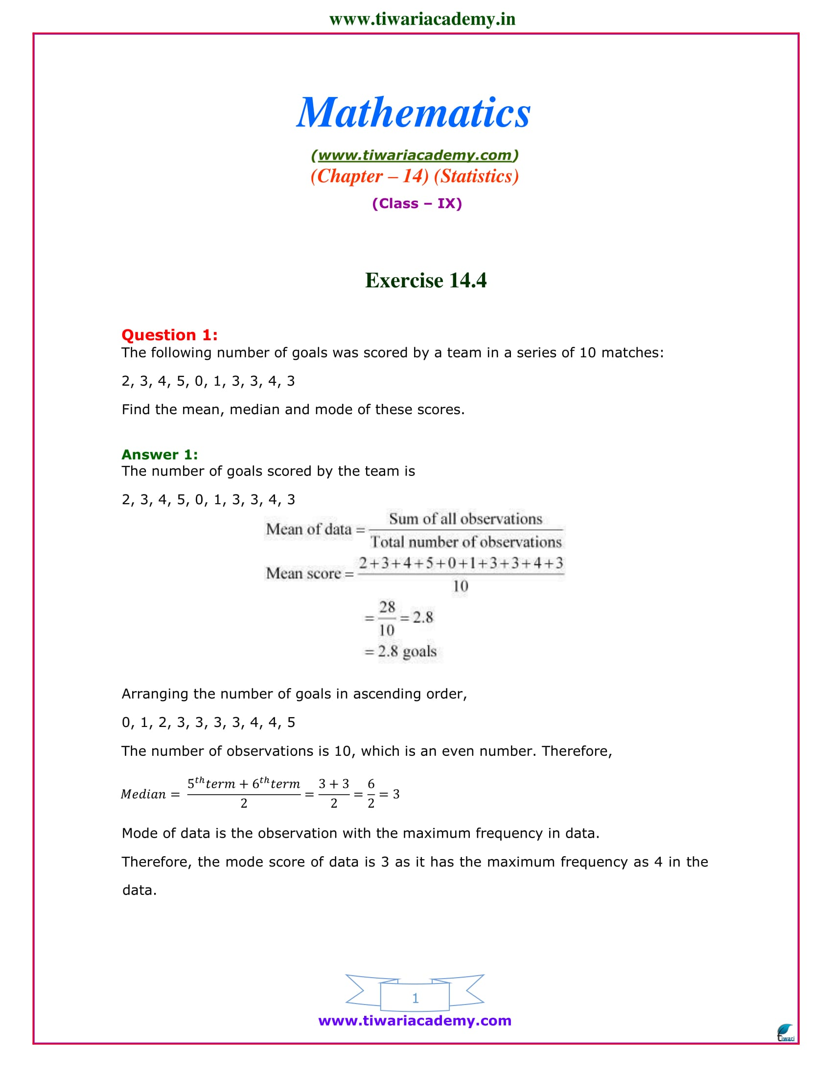 NCERT Solutions for Class 9 Maths Chapter 14 Exercise 14.4