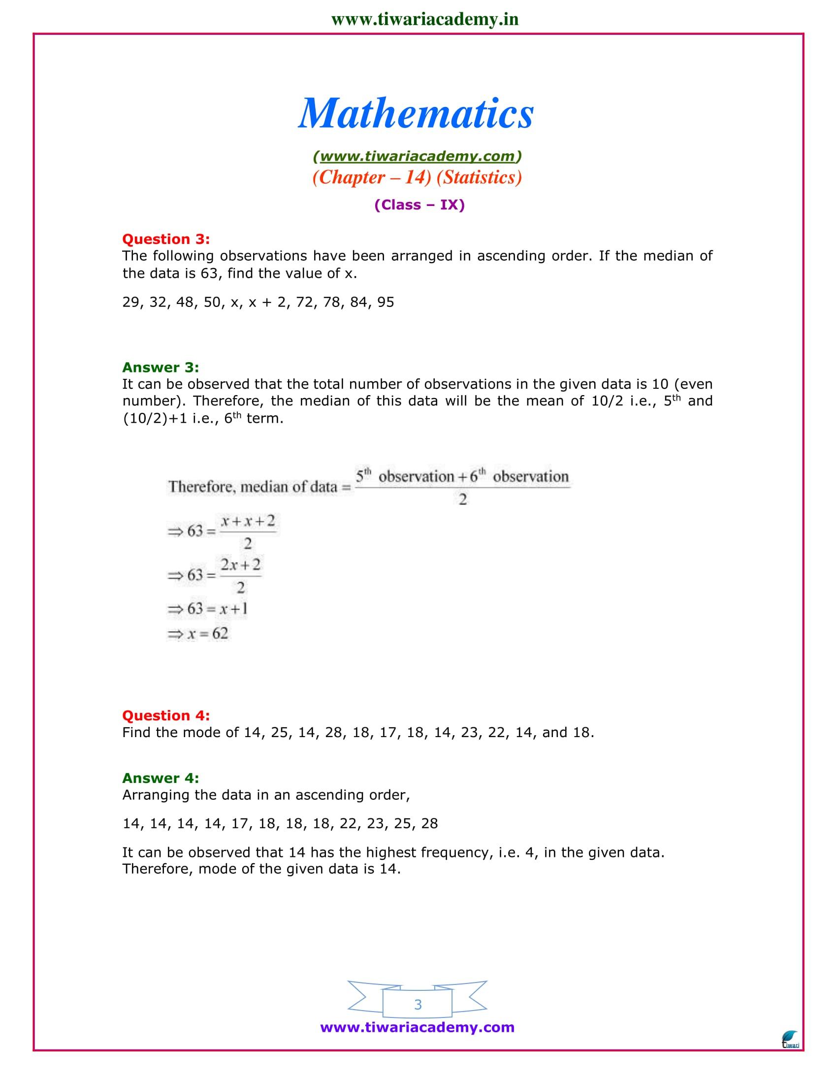 Class 9 Maths exercise 14.4