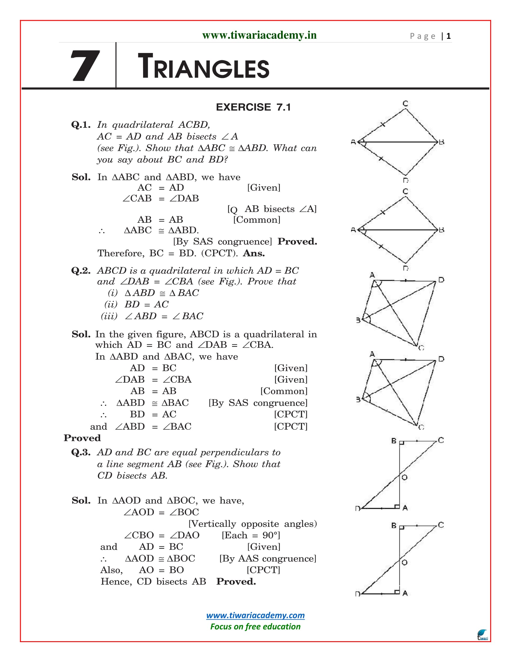 NCERT Solutions for Class 9 Maths Chapter 7 Exercise 7.1