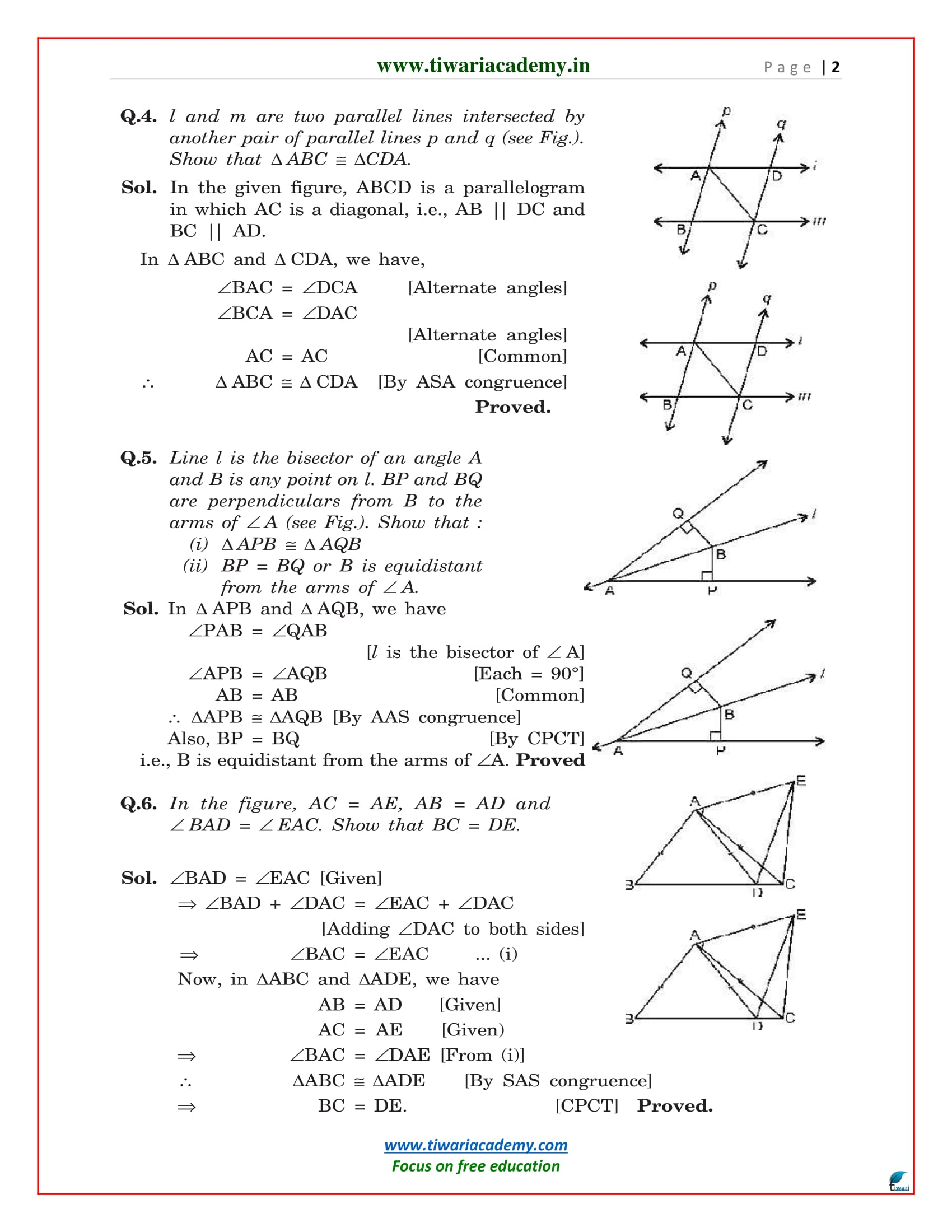 Class 9 maths exercise 7.1 solutions