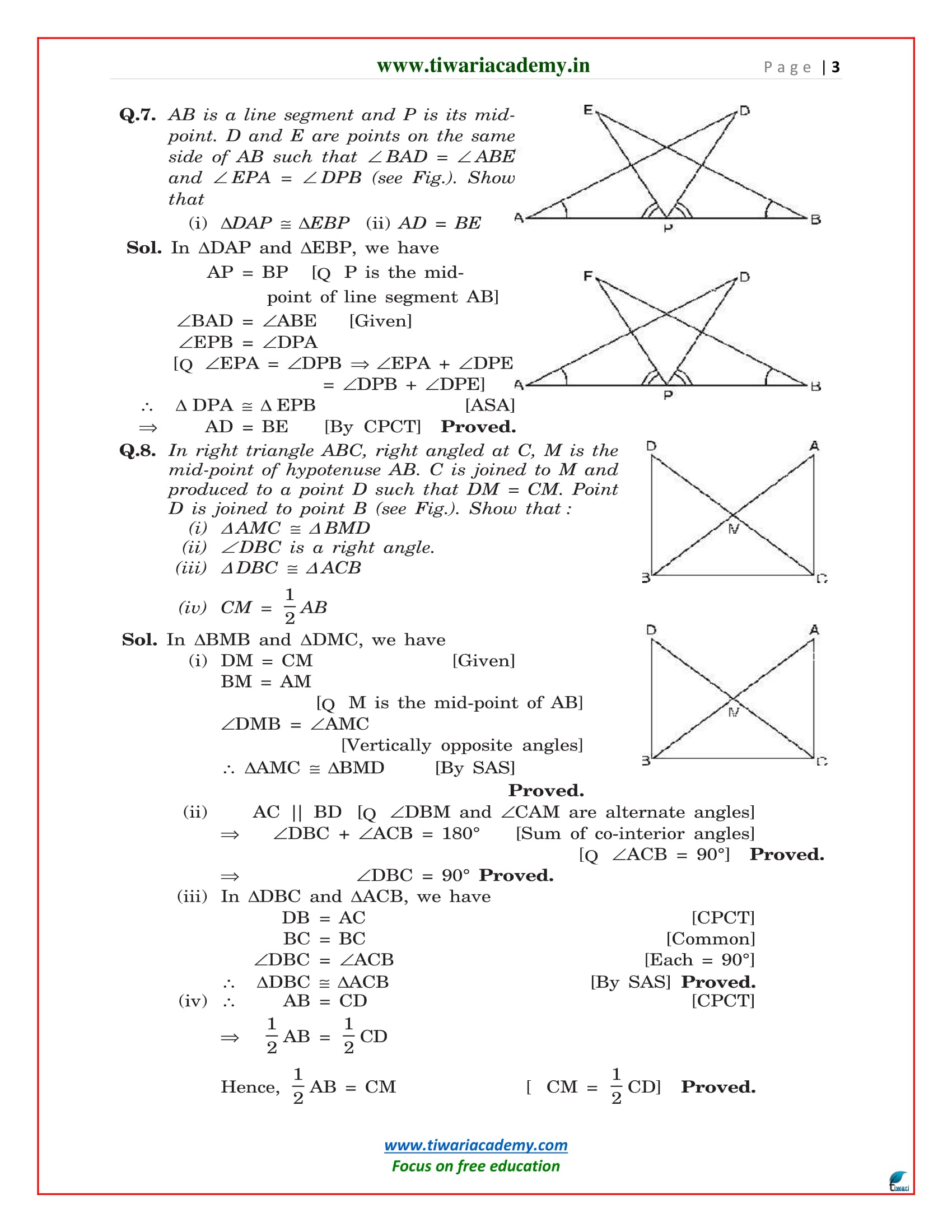 class 9 maths chapter 7 exercise 7.1 solutions