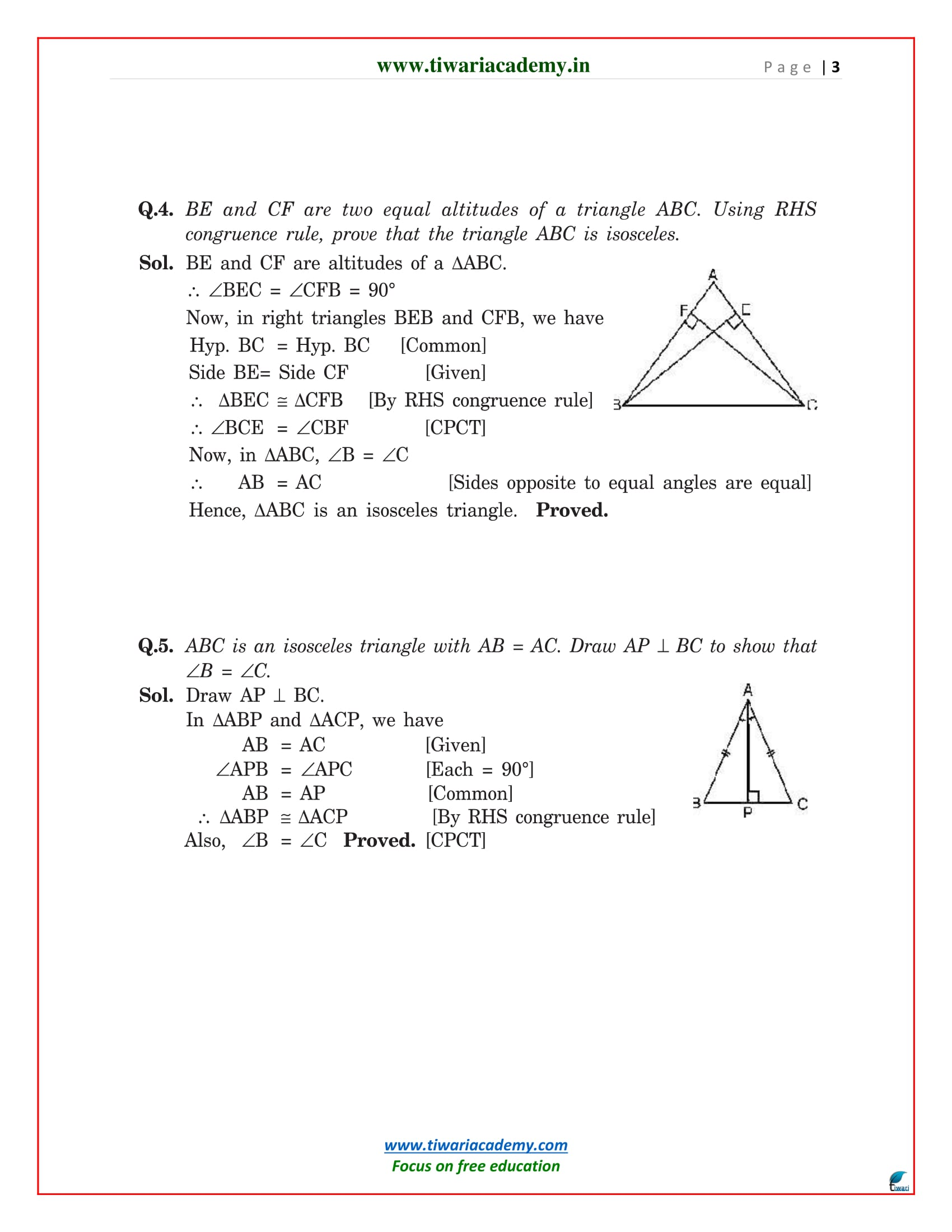 class 9 maths chapter 7 exercise 7.3 solutions