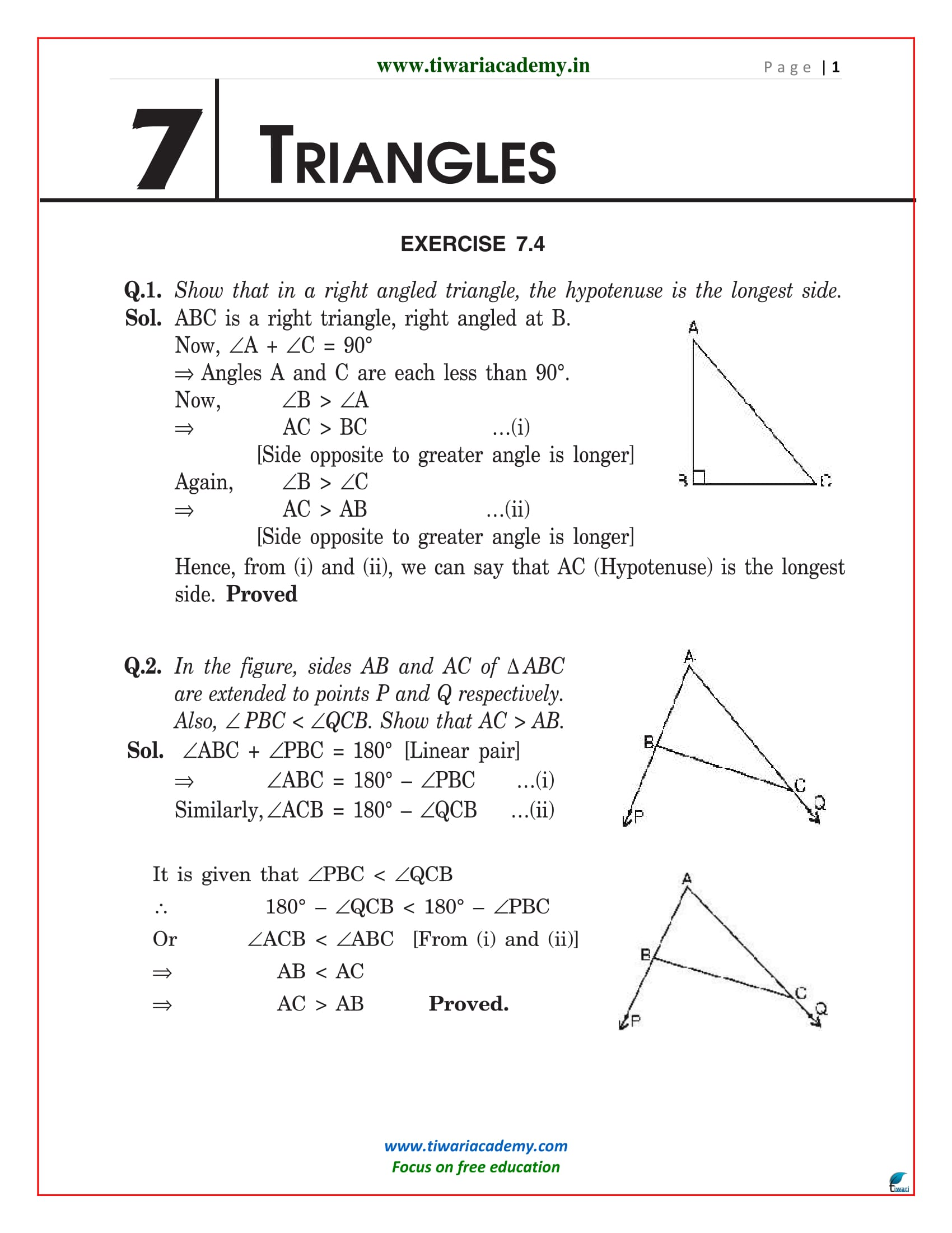 NCERT Solutions for Class 9 Maths Chapter 7 Exercise 7.4