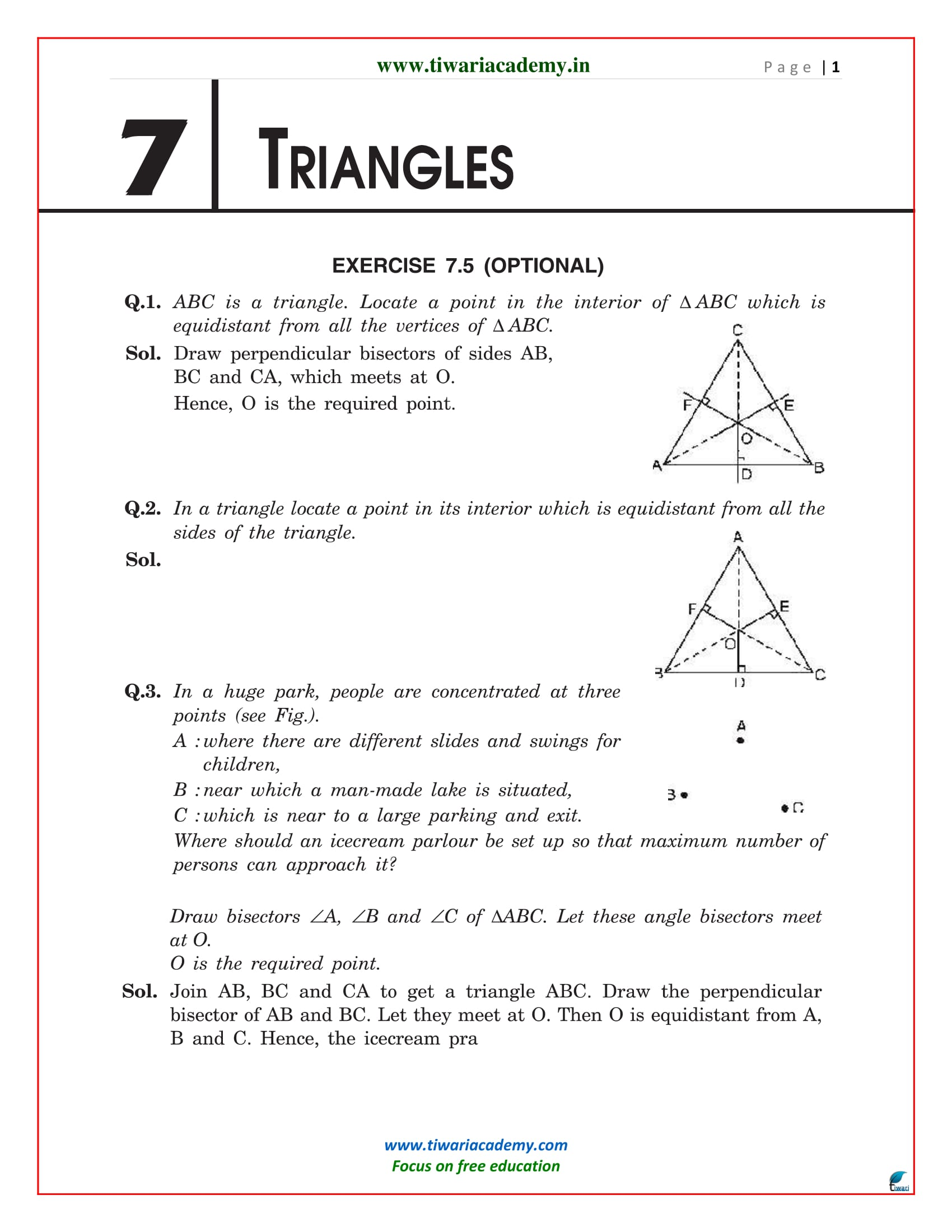 NCERT Solutions for Class 9 Maths Chapter 7 Exercise 7.5
