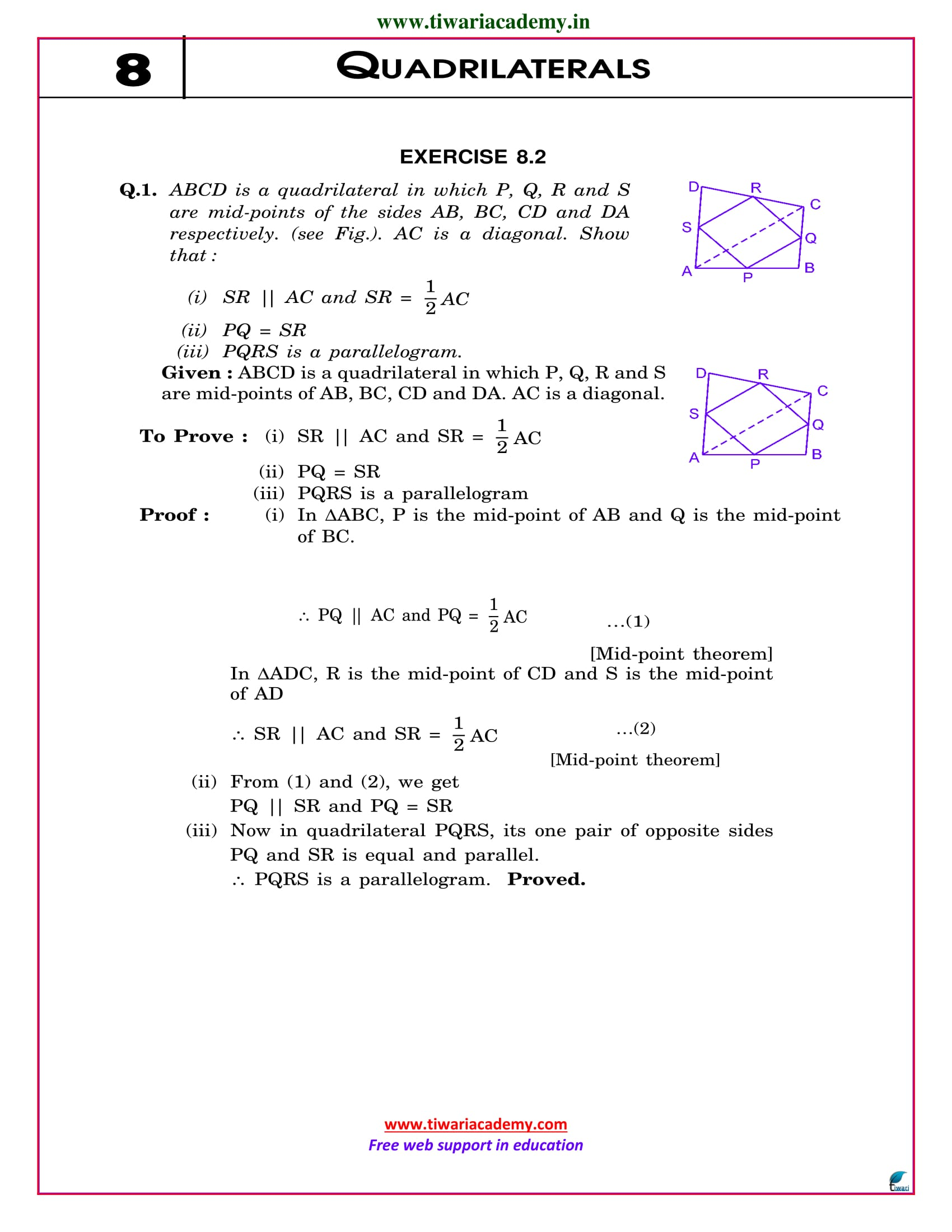 NCERT Solutions for Class 9 Maths Chapter 8 Exercise 8.2