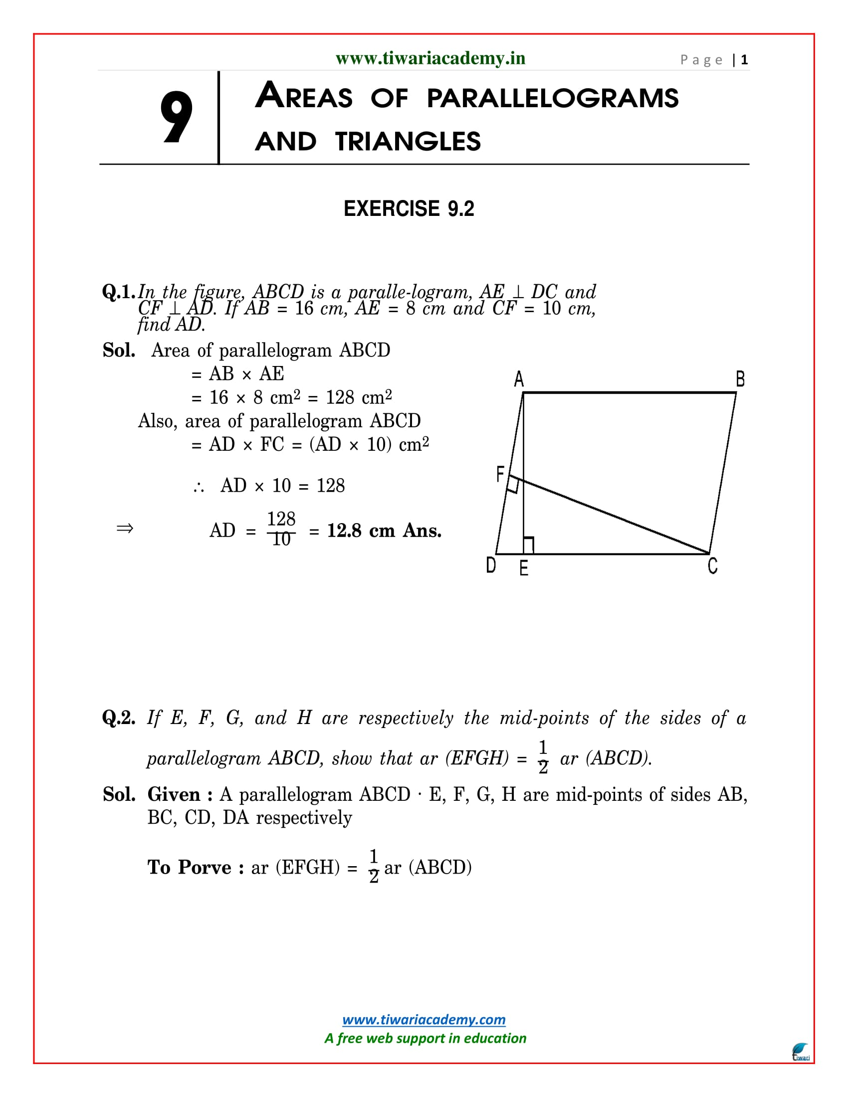 NCERT Solutions for Class 9 Maths Chapter 9 Exercise 9.2