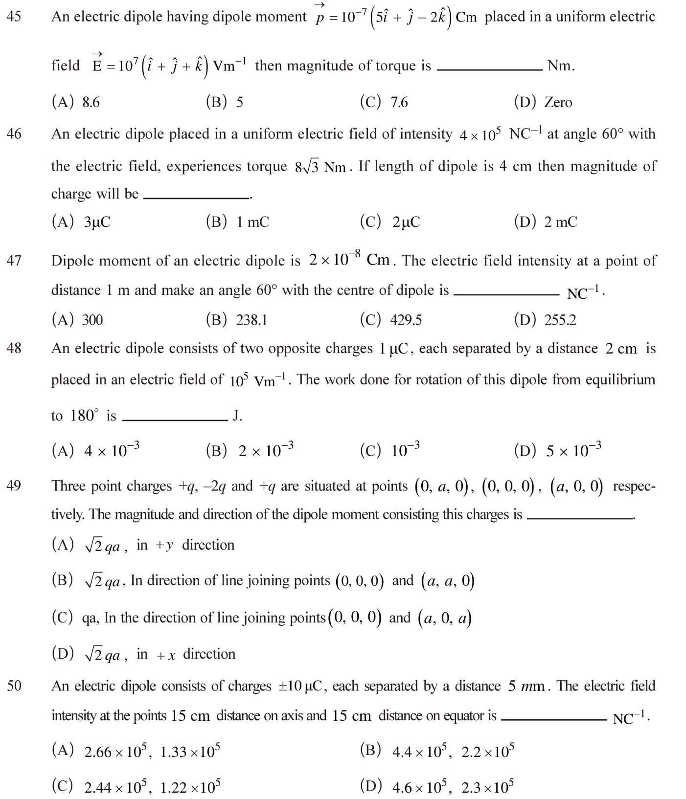 Class 12 Physics Chapter 1 NEET, JEE Mains - 10