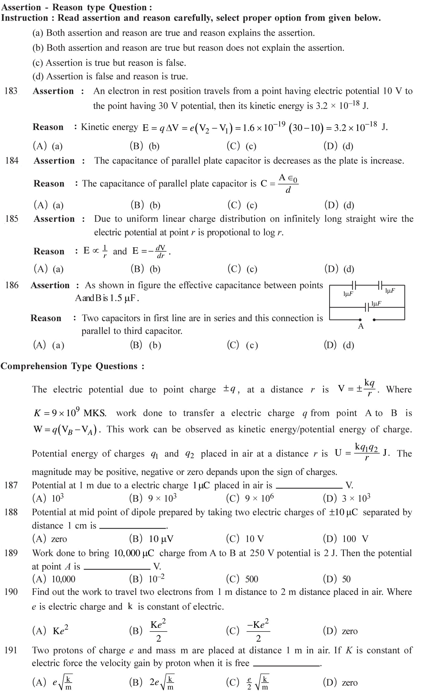 12 Physics Chapter 2 Electrostatic potential NEET & JEE Questions-13