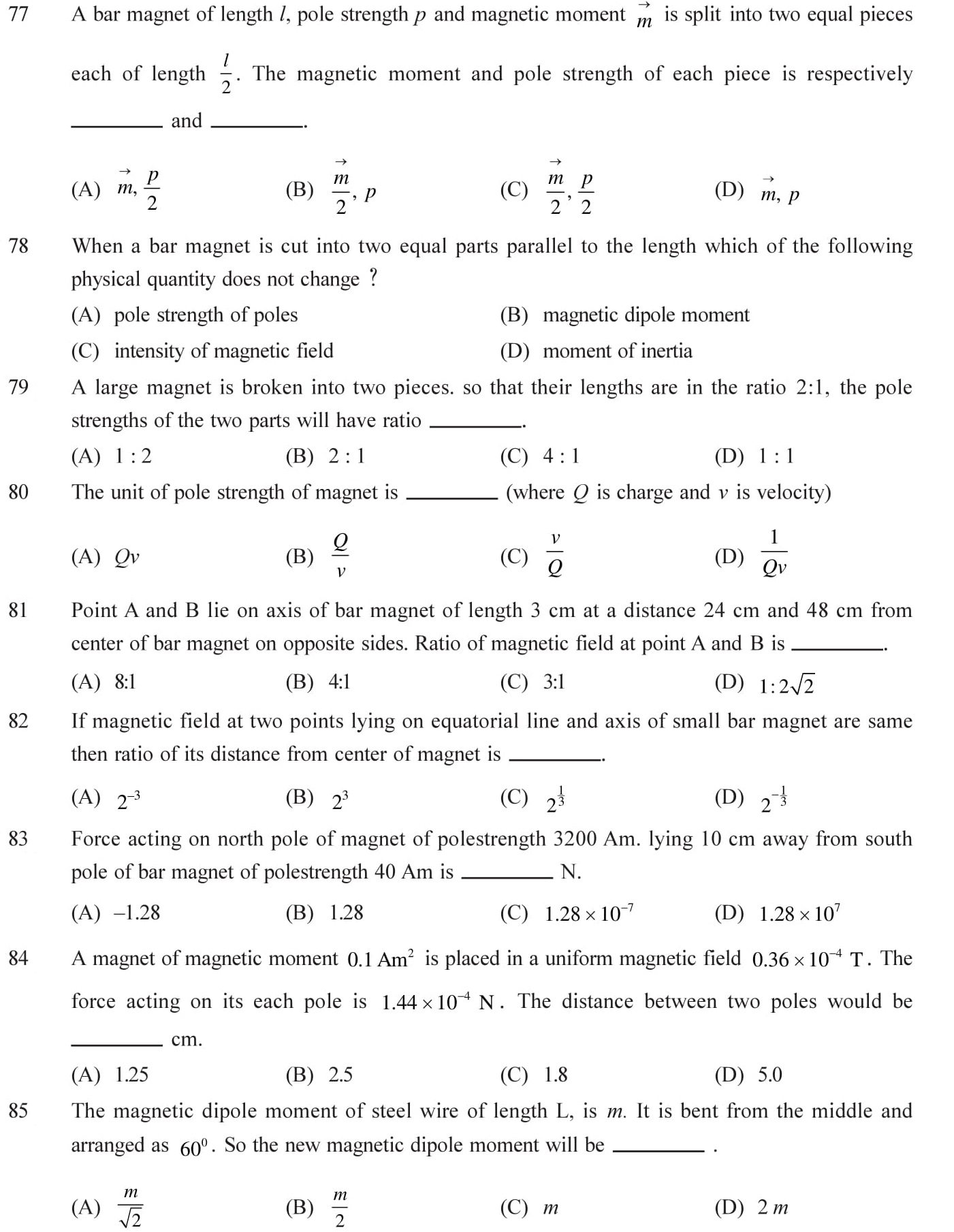 12 Physics Magnetism and Matter Questions for NEET, JEE, IIT set - 1