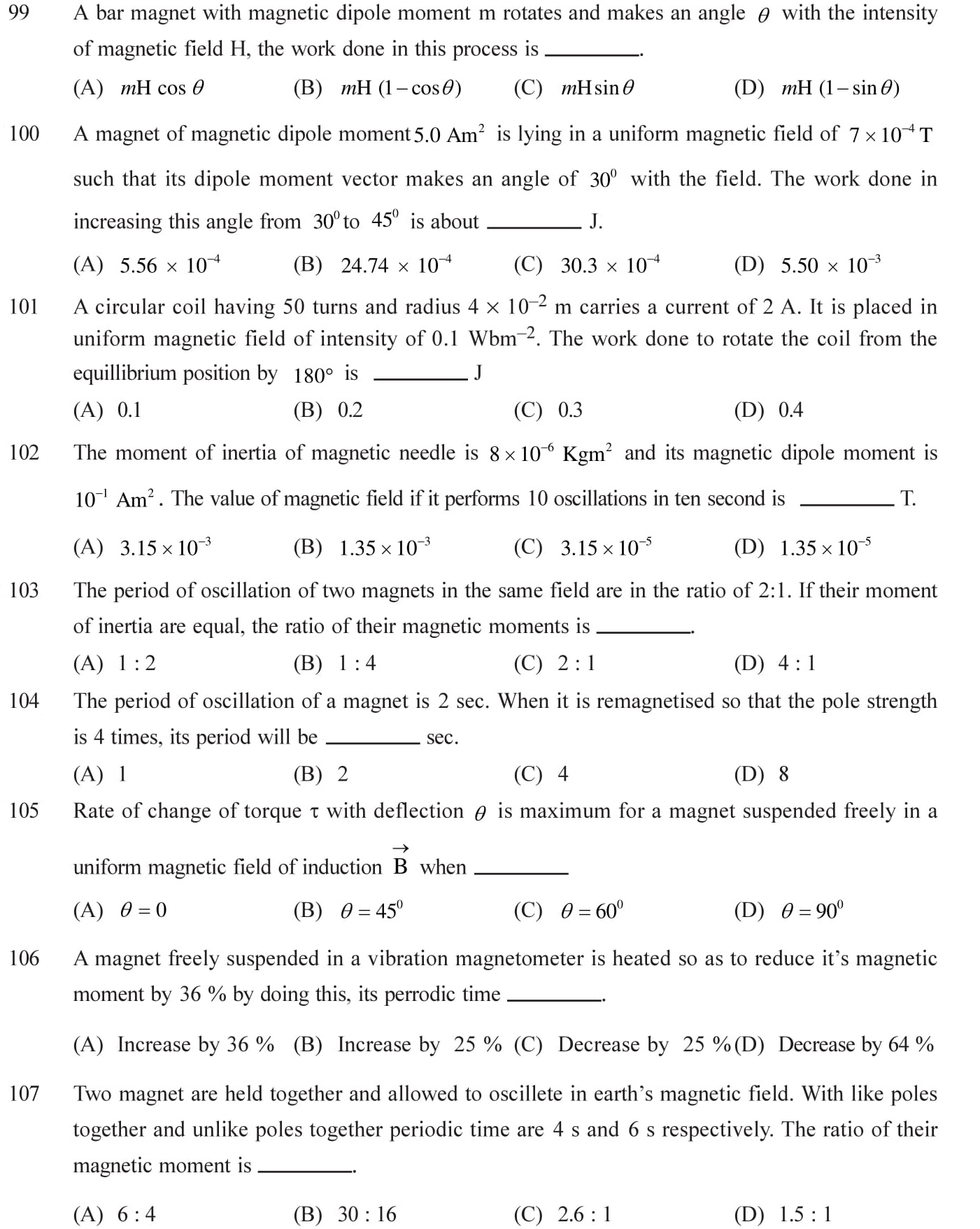12 Physics Magnetism and Matter Questions for NEET, JEE, IIT set - 4