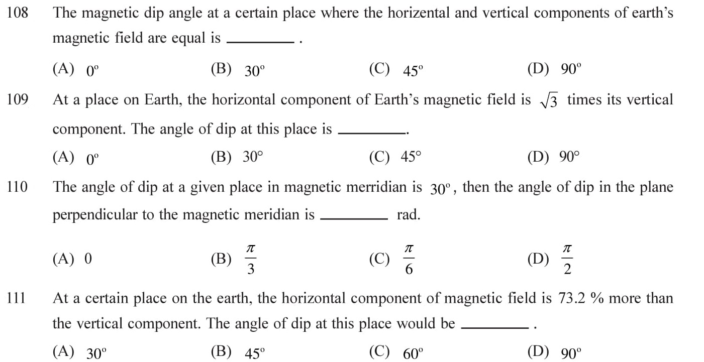 12 Physics Magnetism and Matter Questions for NEET, JEE, IIT set - 5