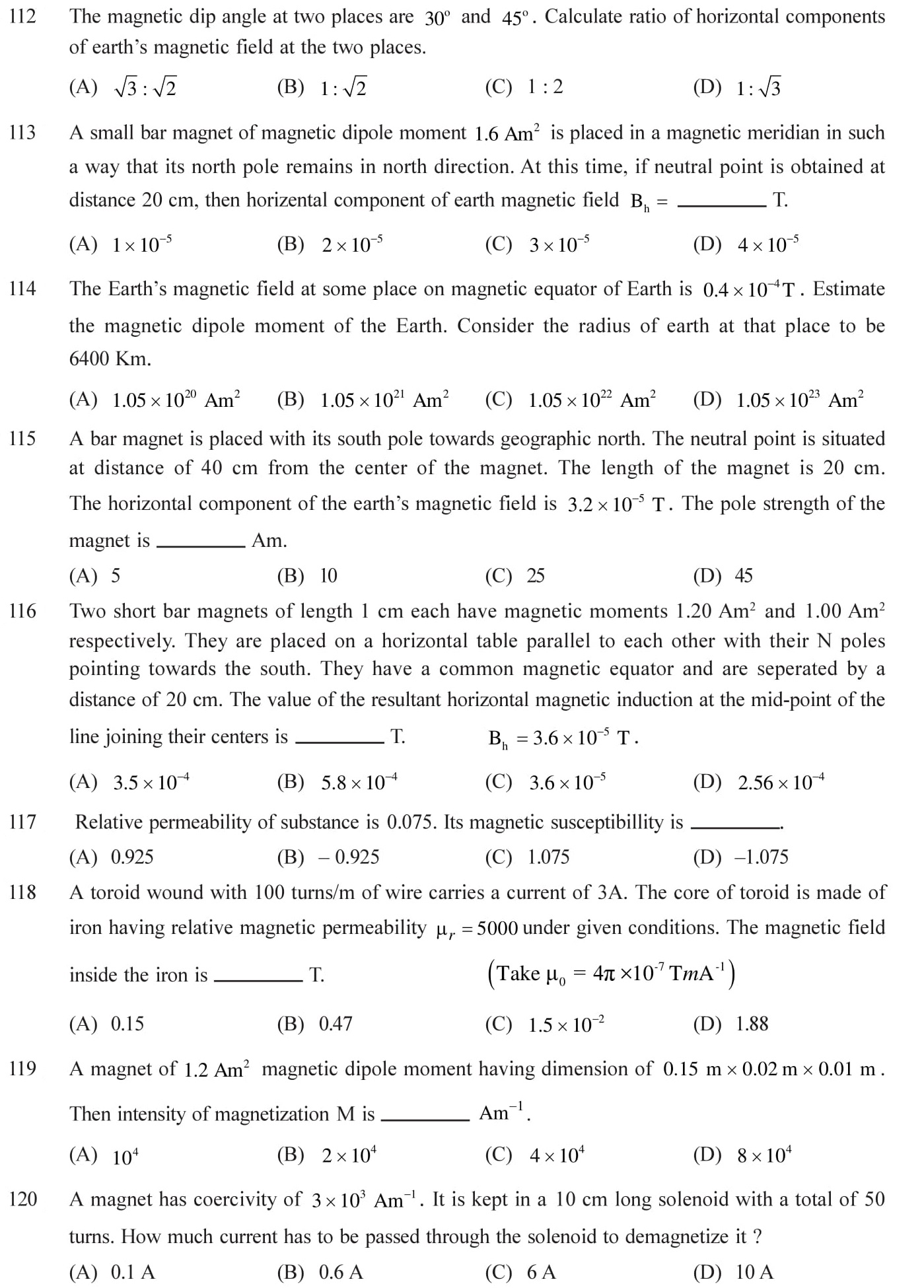 12 Physics Magnetism and Matter Questions for NEET, JEE, IIT set - 6