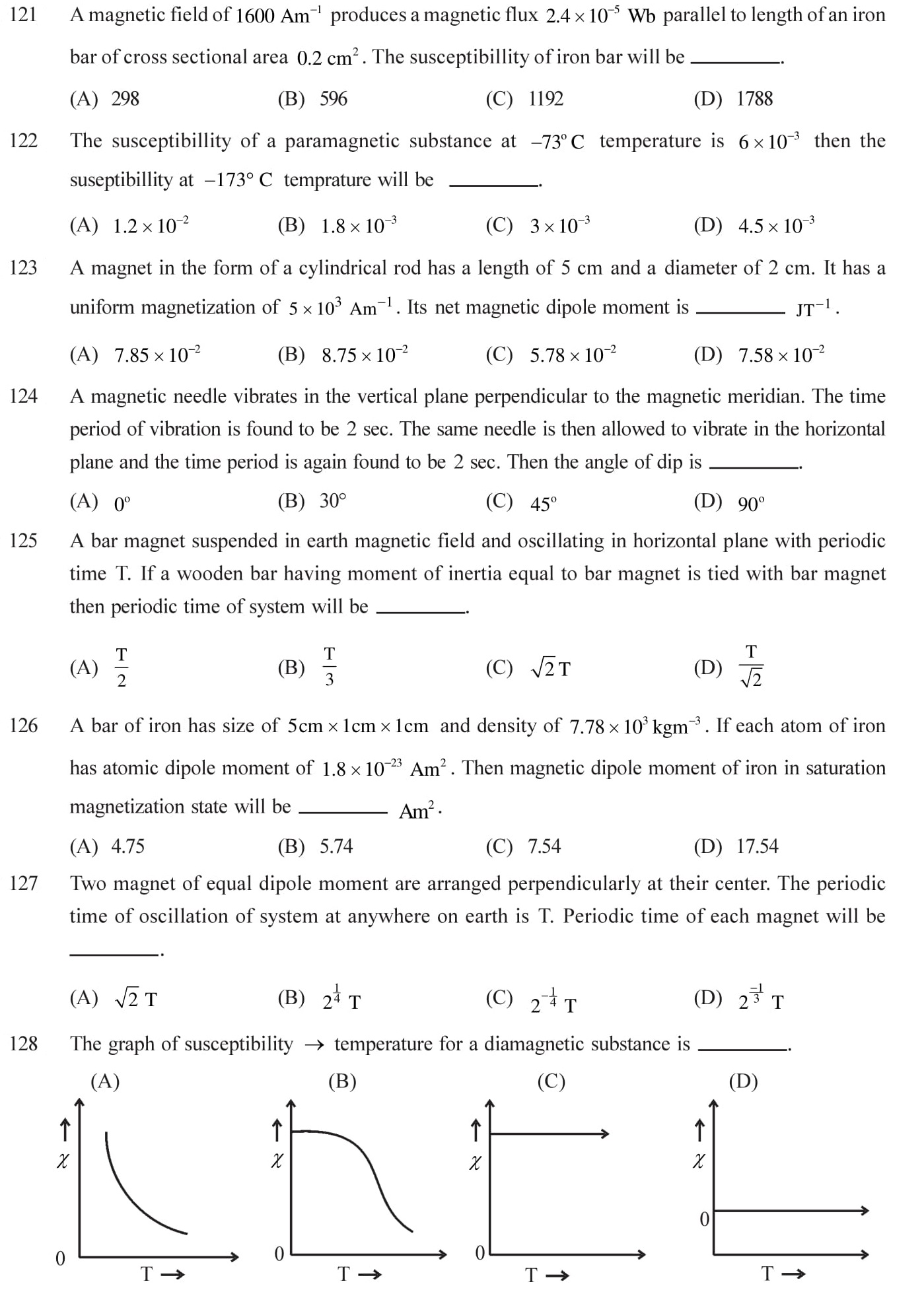 12 Physics Magnetism and Matter Questions for NEET, JEE, IIT set - 7