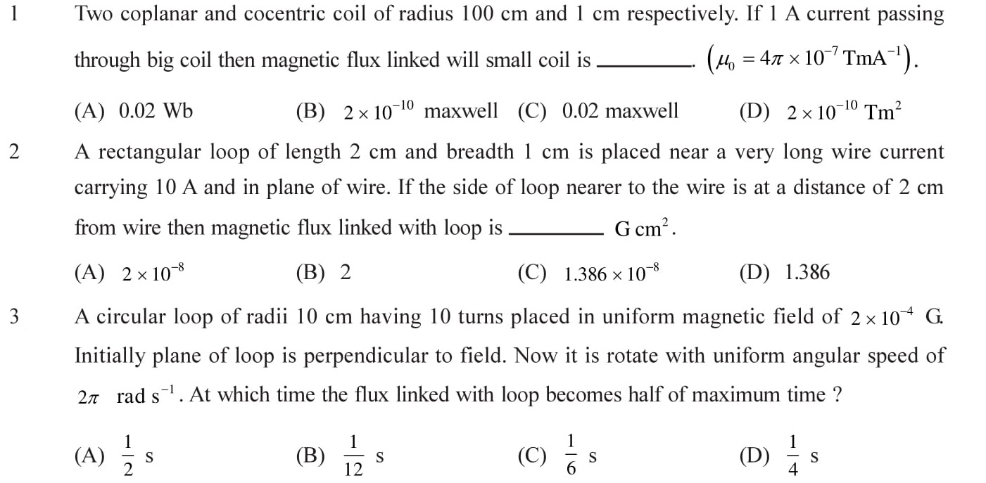 Questions for NEET, JEE Mains on Electromagnetic Inductions Topic 1