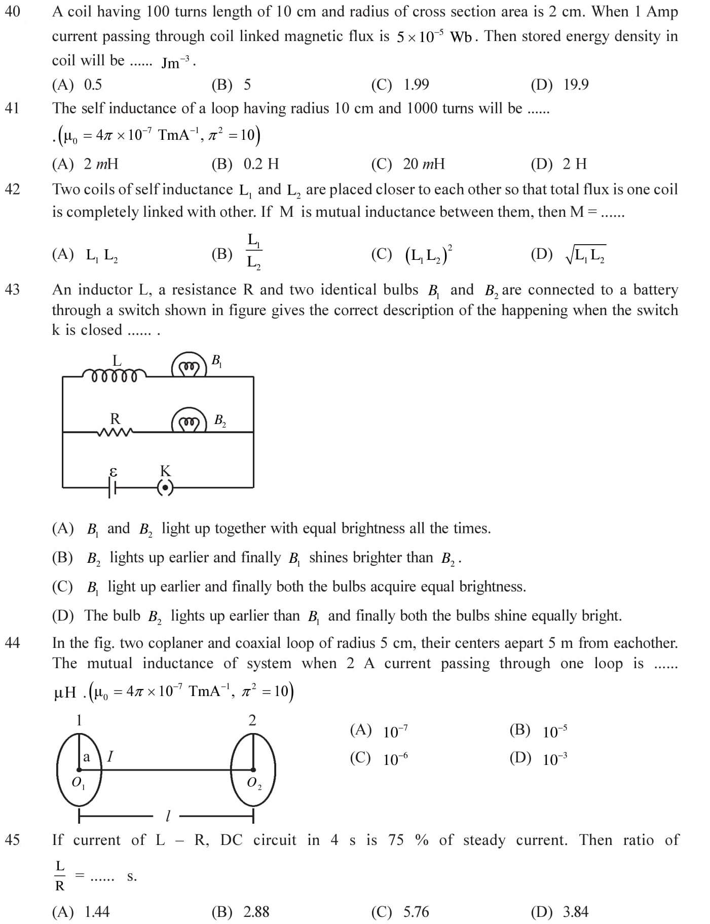 Questions for NEET, JEE Mains on Electromagnetic Inductions Topic 10