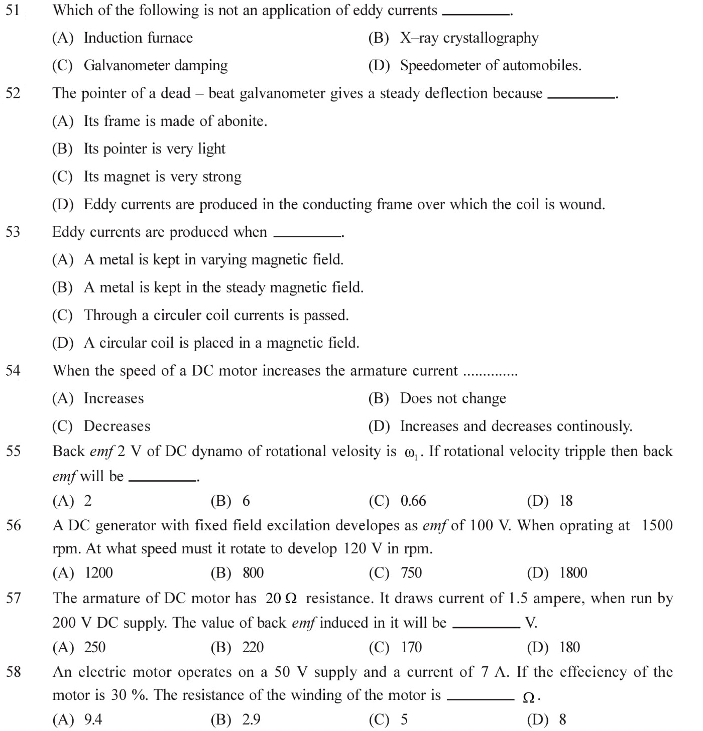 Questions for NEET, JEE Mains on Electromagnetic Inductions Topic 12